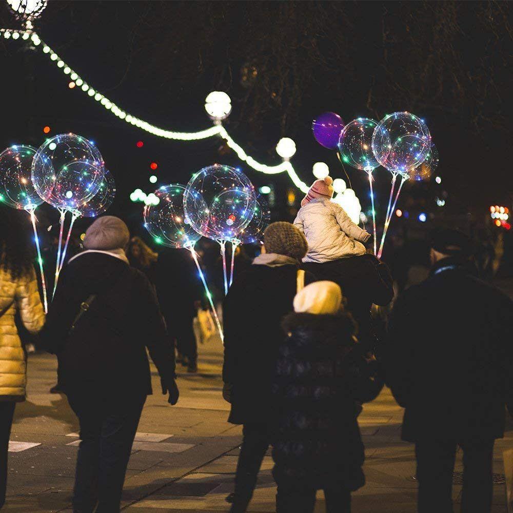 Kit 10 Balões LED Festa a Pilhas Com Varetas CBRN11940