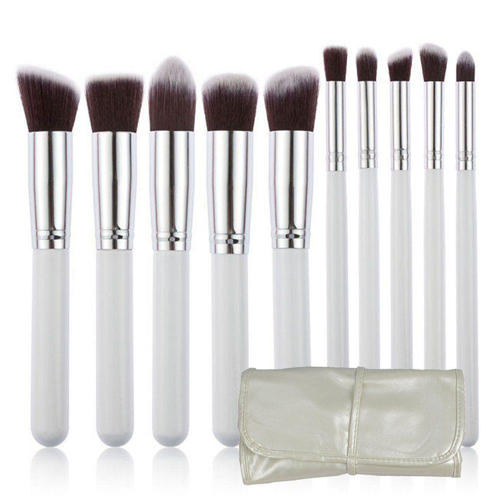 Kit 10 Pincéis Kabuki para maquiagem bolsa branca CBR04379