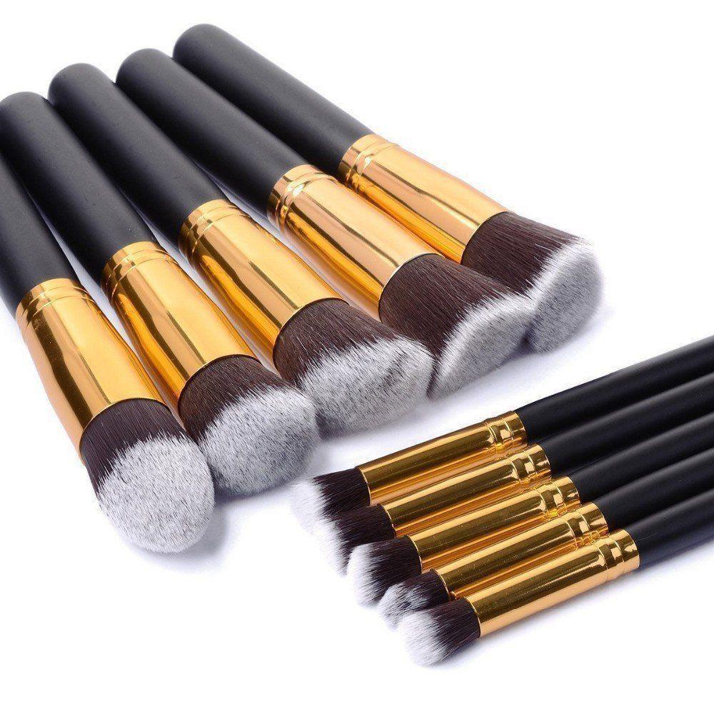 Kit 10 Pincéis Kabuki para maquiagem bolsa preta CBR03433