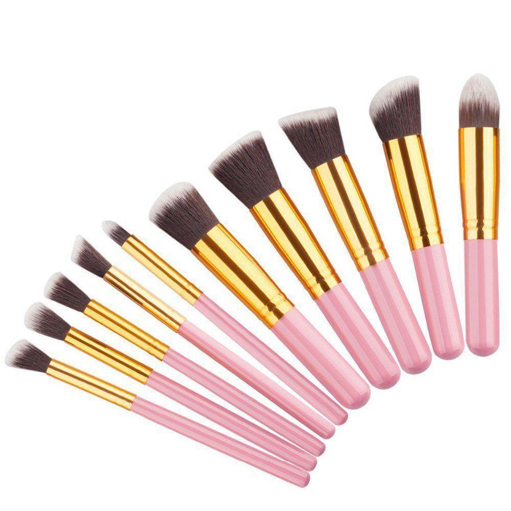 Kit 10 Pincéis Kabuki para maquiagem bolsa rosa CBR04386