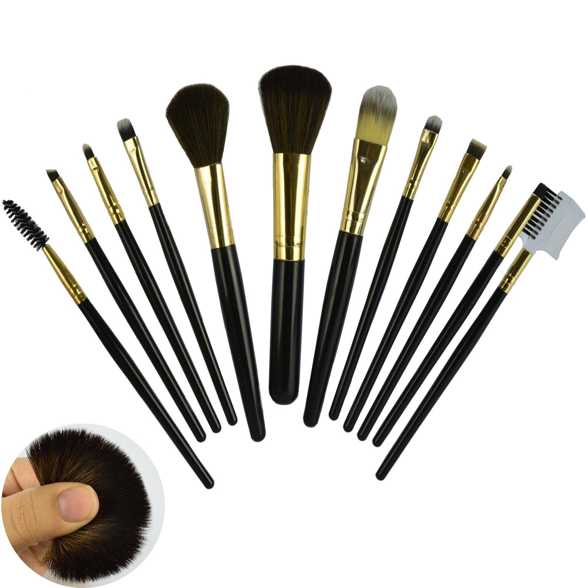 Kit 12 Pincéis Para Maquiagem Luxo Preto CBRN11018