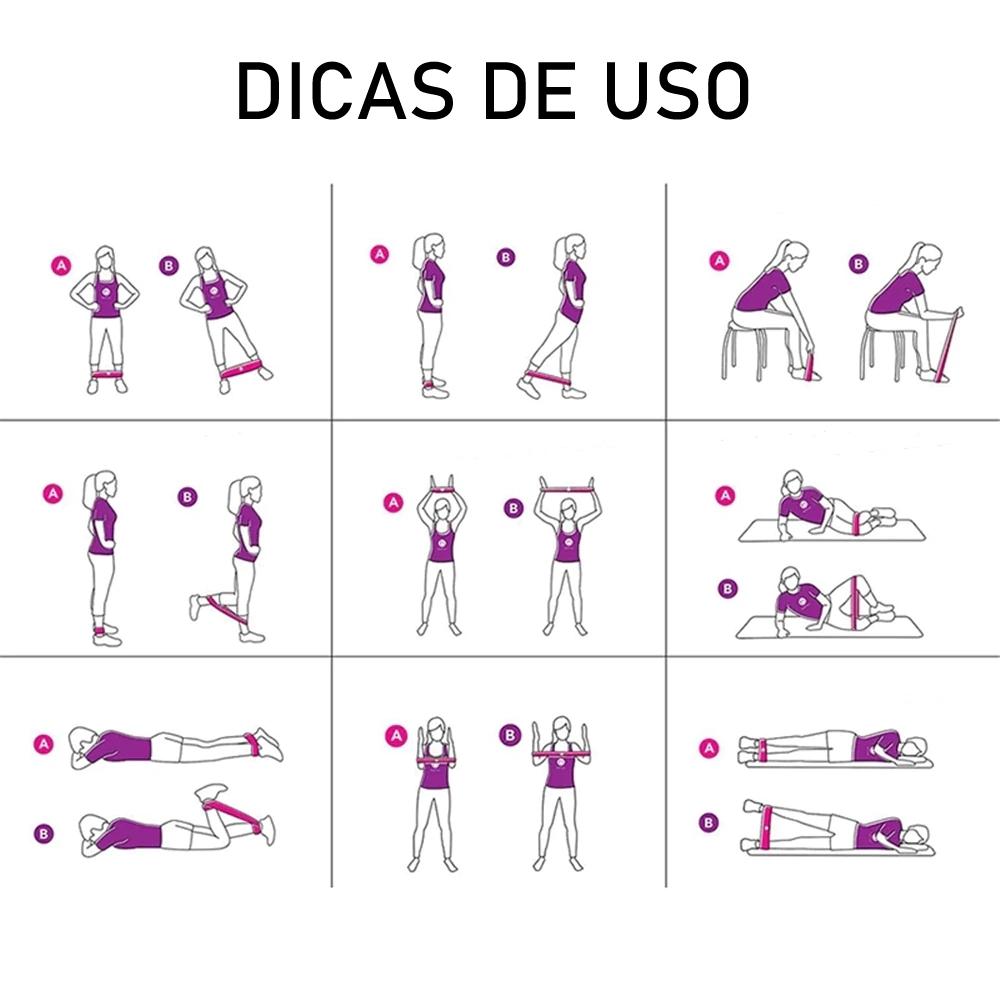 Kit 5 Faixas Elásticas Thera Band Exercício Pilates Yoga + Chaveiro CBRN15825