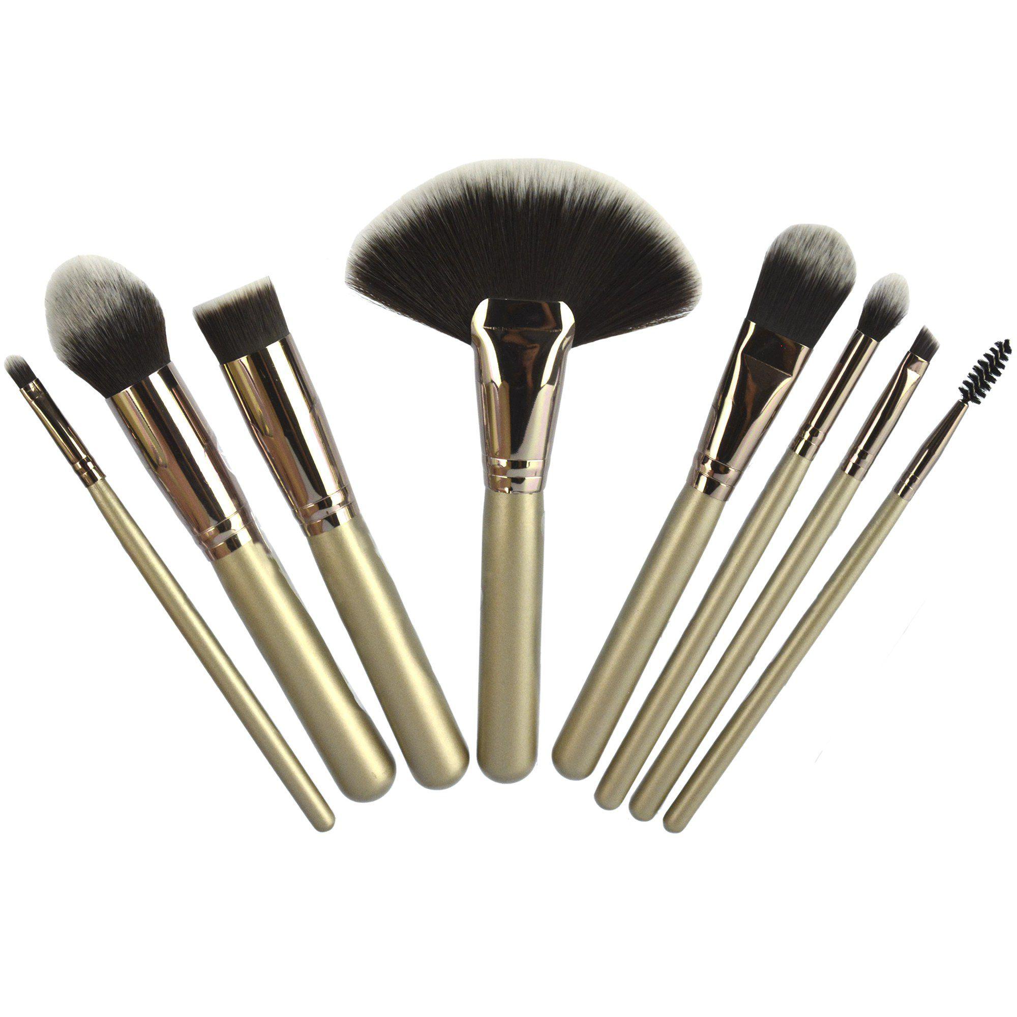 Kit 8 Pincéis Para Maquiagem Luxo Prata CBRN11025