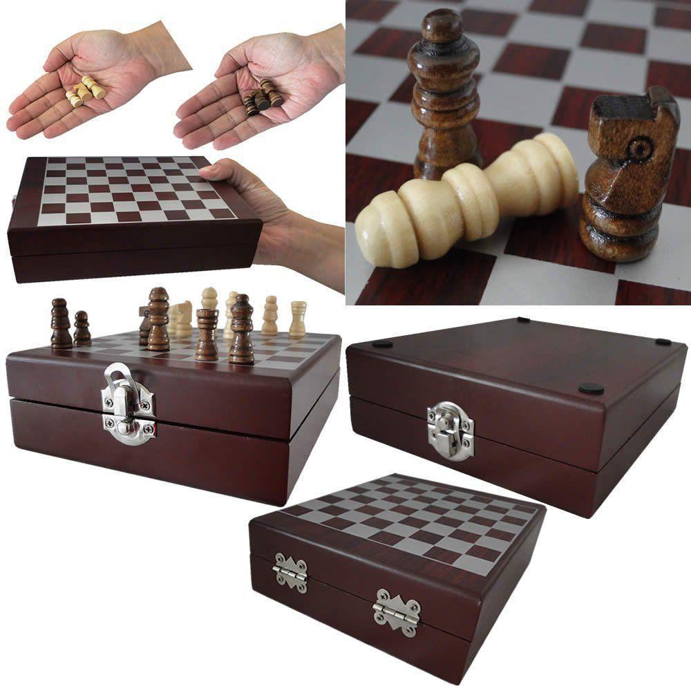 Kit acessorios p/ vinho + mini xadrez luxo marrom CBRN01408