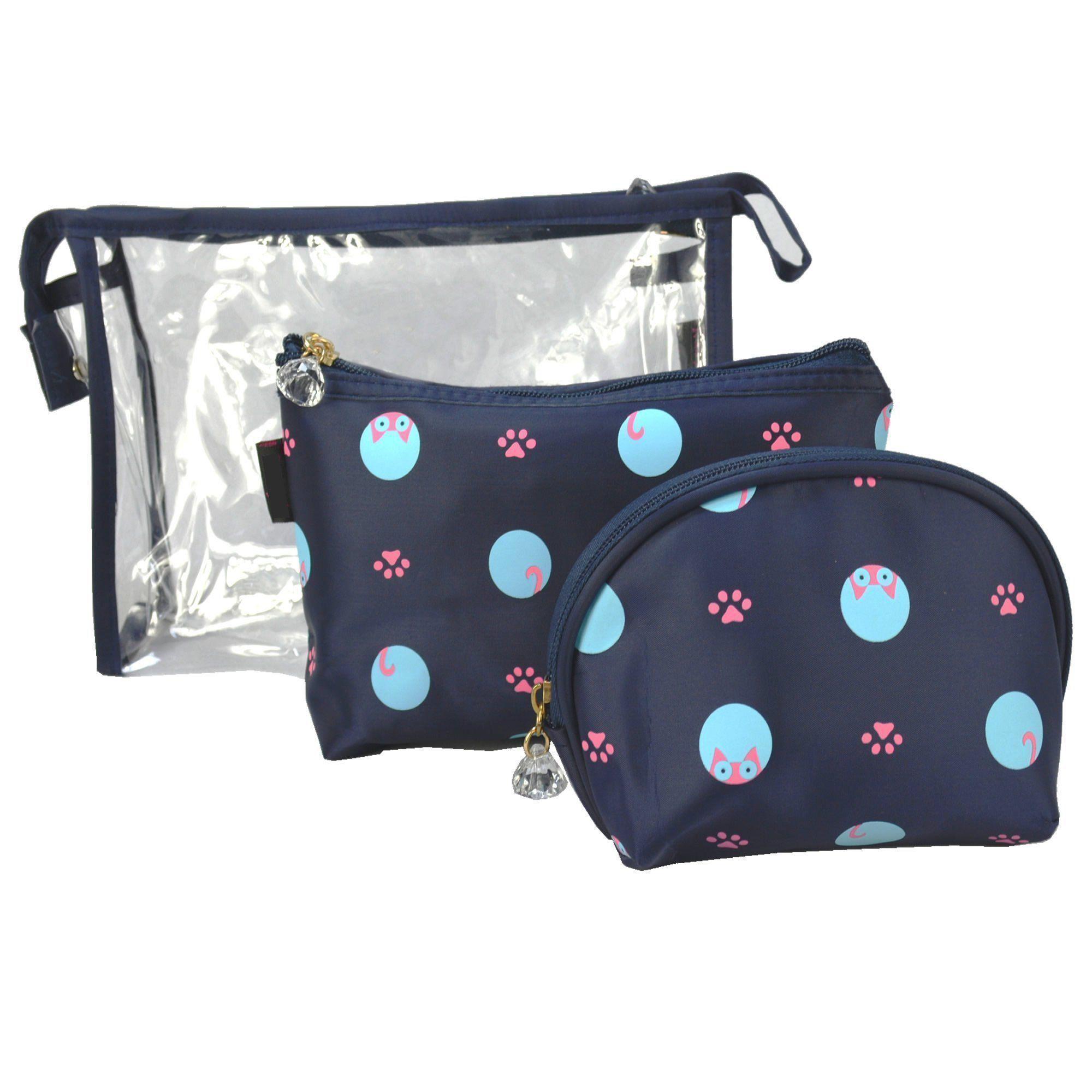 Kit com 3 Frasqueiras Necessaire Feminina Azul Escuro CBRN05956