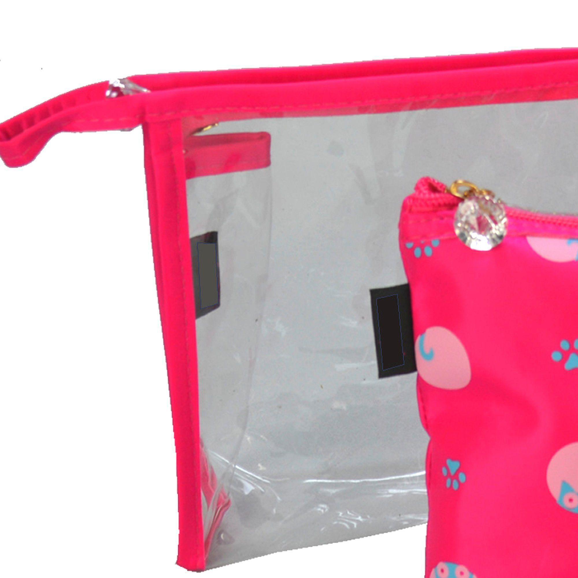 Kit com 3 Frasqueiras Necessaire Feminina Pink CBRN05970