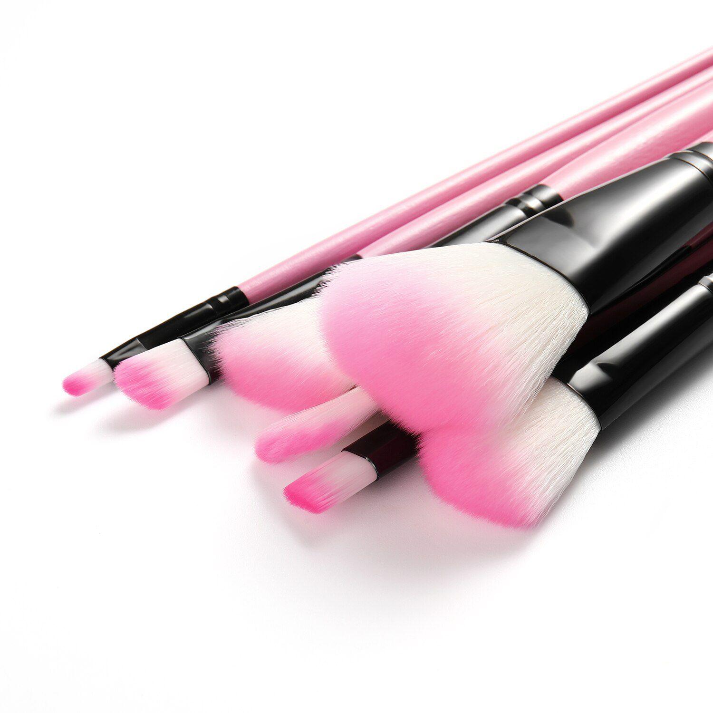 Kit de 24 Pincéis Para Maquiagem Profissional Estojo Rosa CBRN13036
