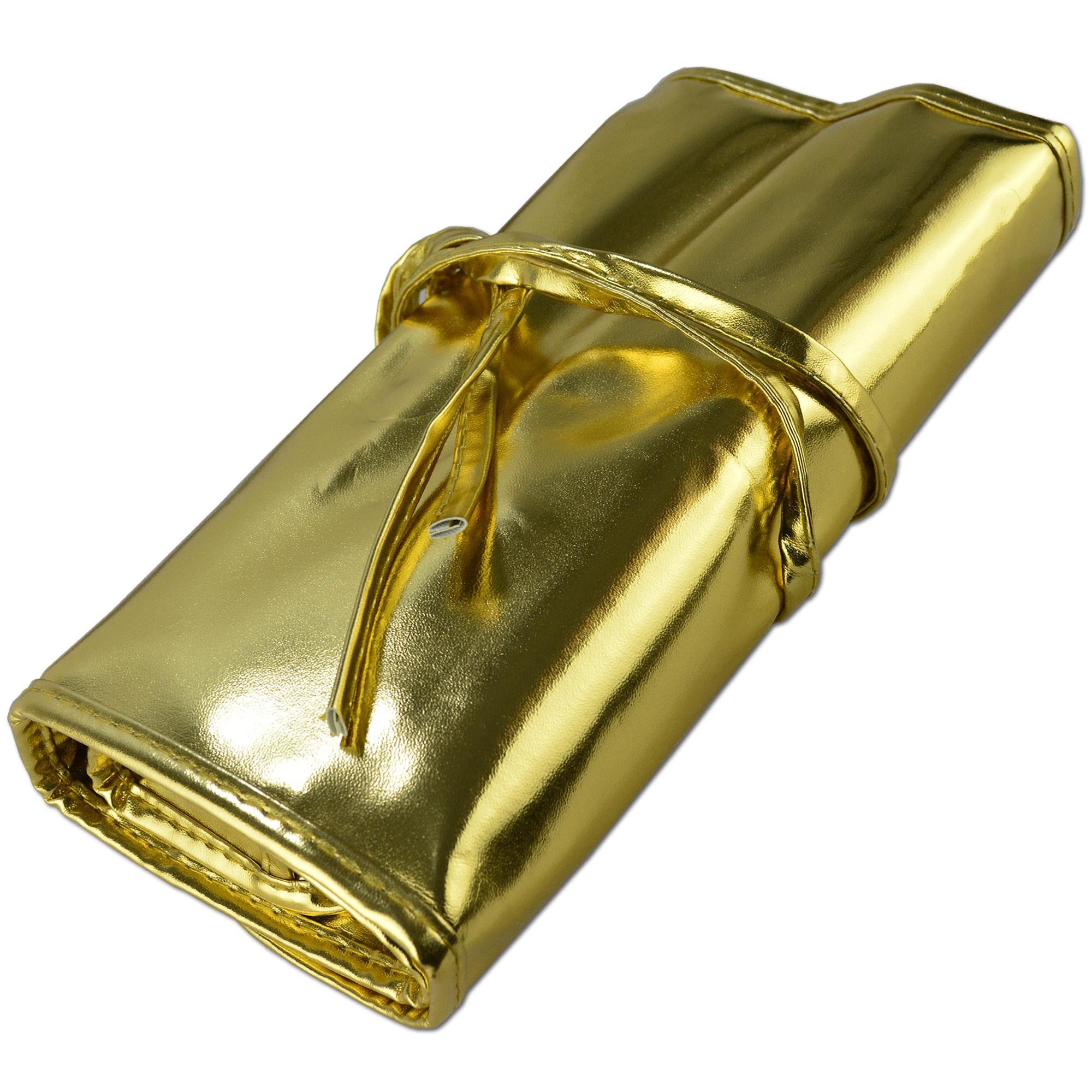 Kit de 32 Pincéis Para Maquiagem Profissional com Estojo Dourado CBRN10455