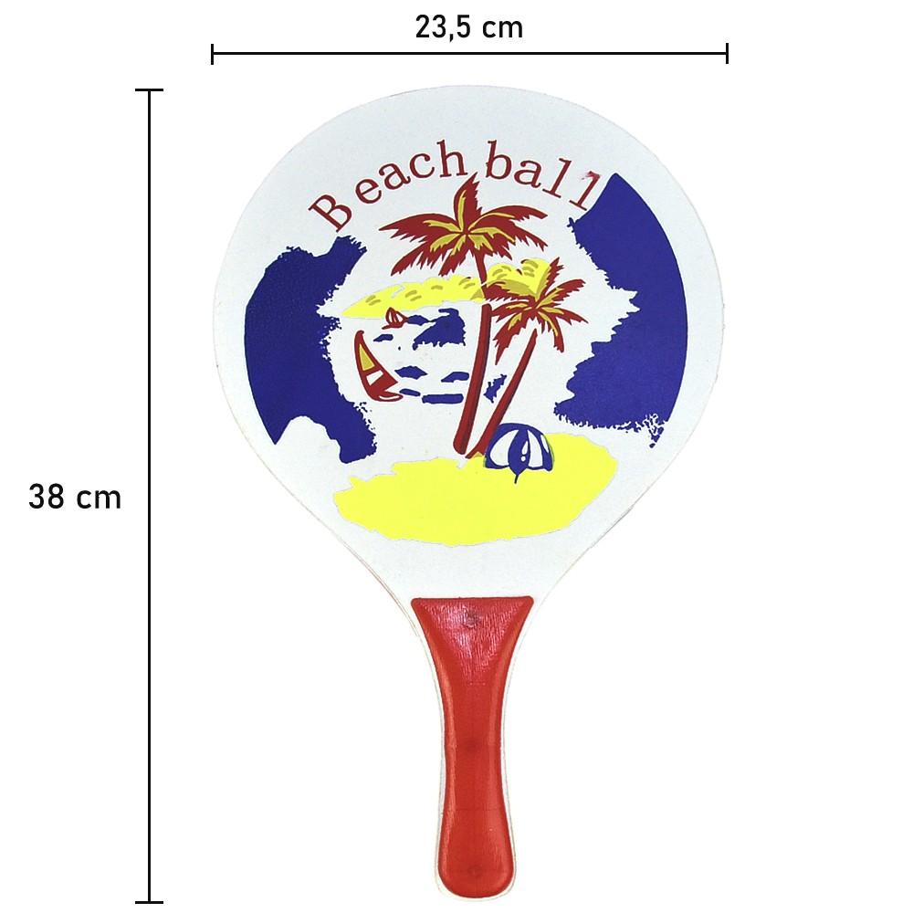 Kit Frescobol 2 Raquetes 1 Bola Coqueiro Vermelho CBRN15566
