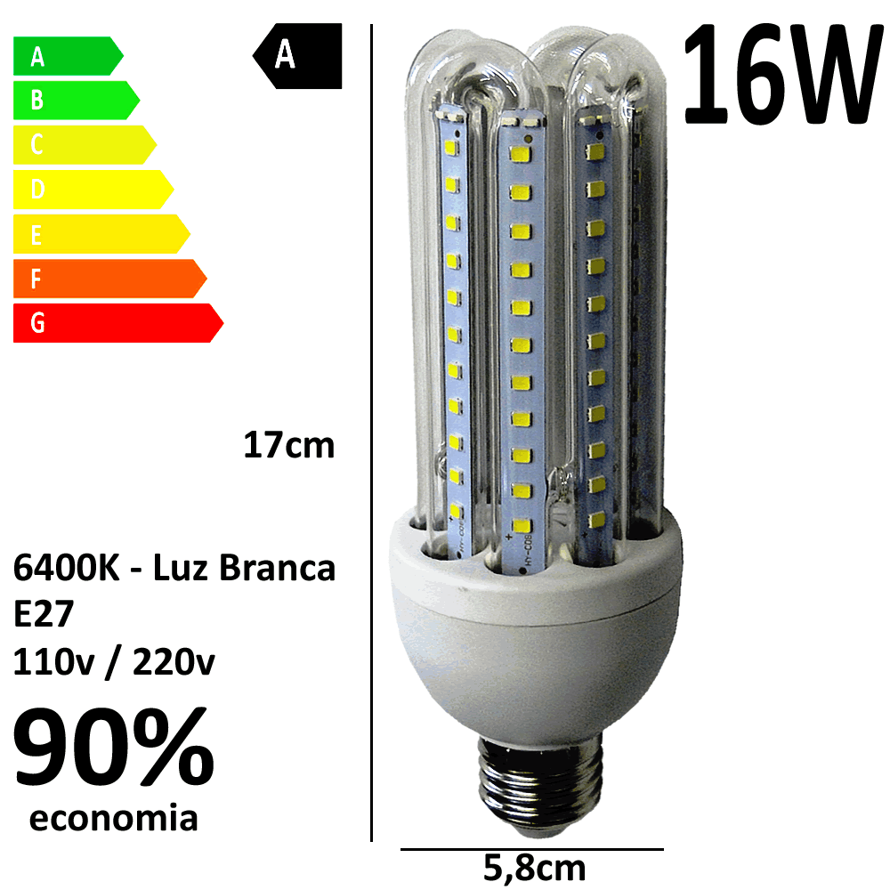 Lâmpada Led 16W E27 Branco Frio 6400k Econômica Bi volt WMT2426
