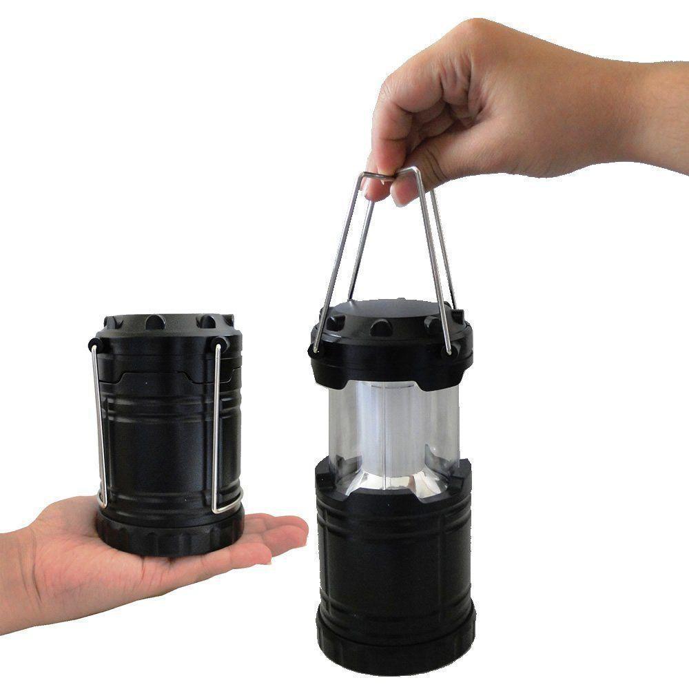 Lanterna Lampião Camping a Pilhas 4 LEDS PRETO CBRN01255