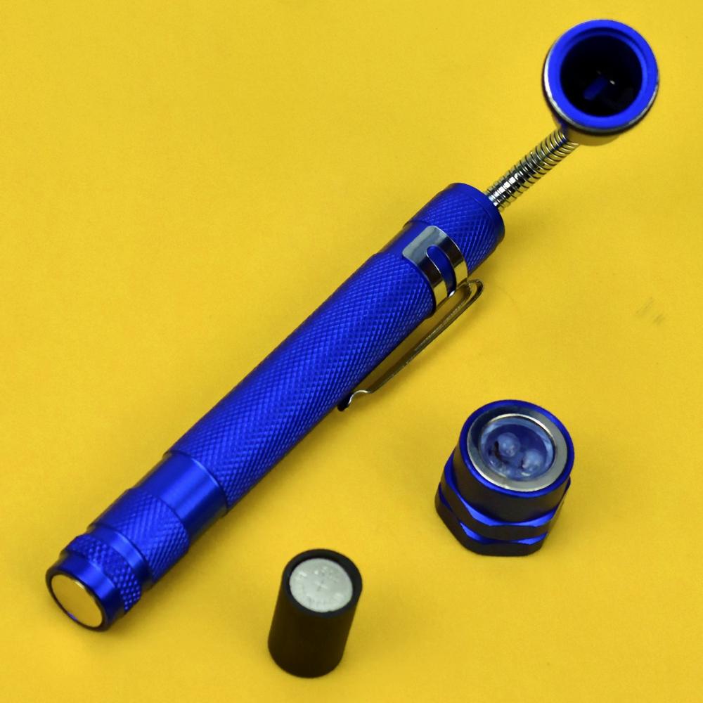 Lanterna de LED Telescópica Flexível 3 LEDS com Imã Azul + Chaveiro CBRN16259