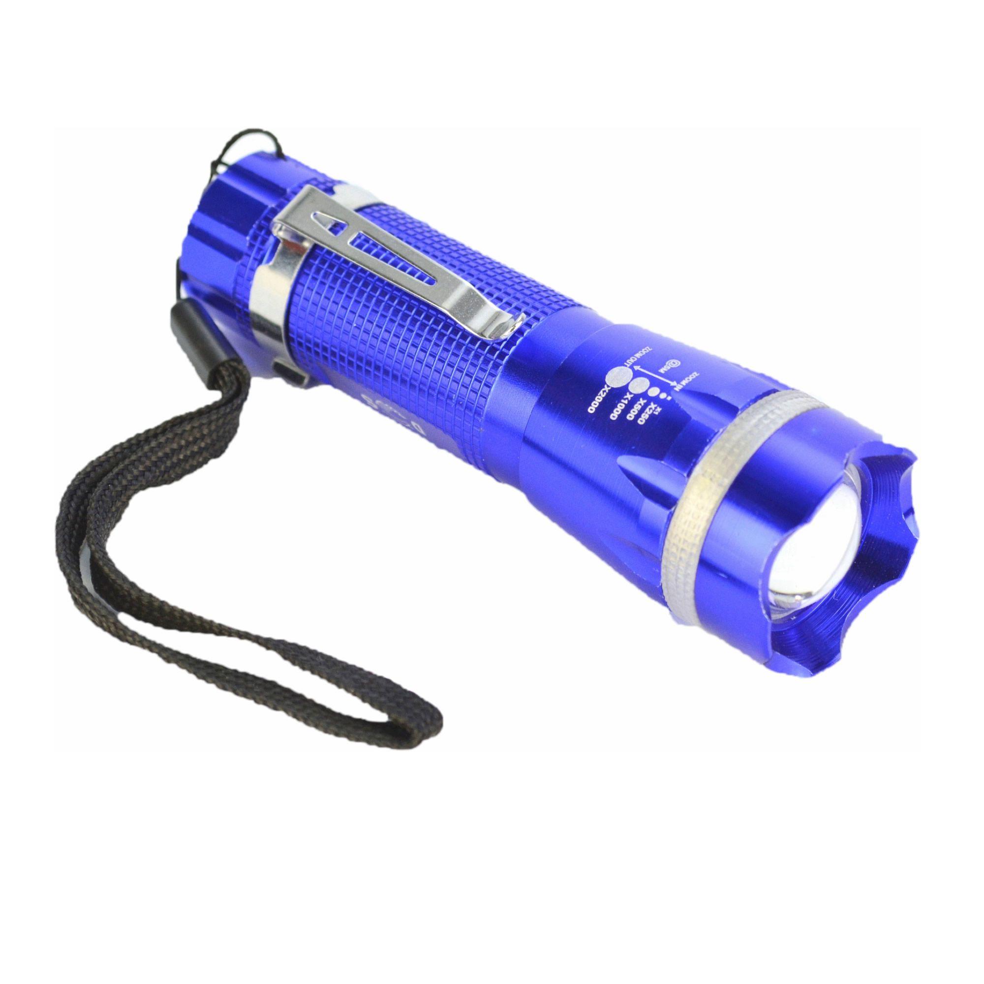 Lanterna Tática Policial LED Pilhas 10cm Azul CBRN11483