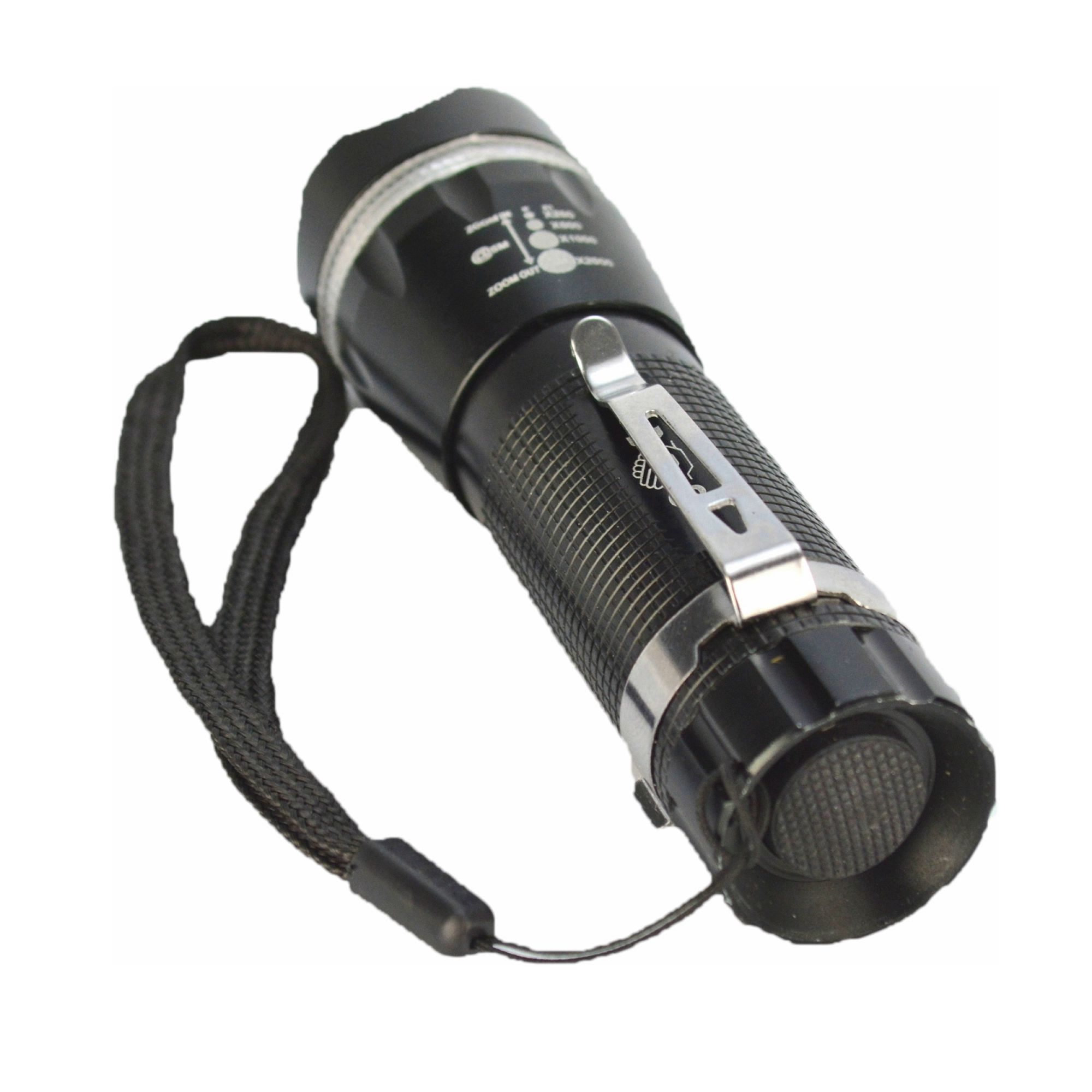 Lanterna Tática Policial LED Pilhas 10cm Preto CBRN11506