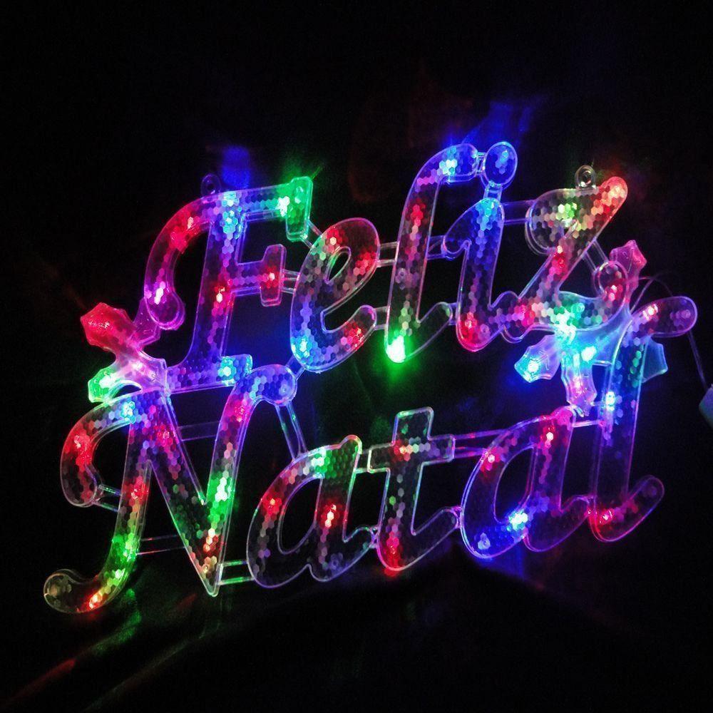 Letreiro Luminoso Decorativo 35 LEDs Feliz Natal 220v 1856 CBRN05048