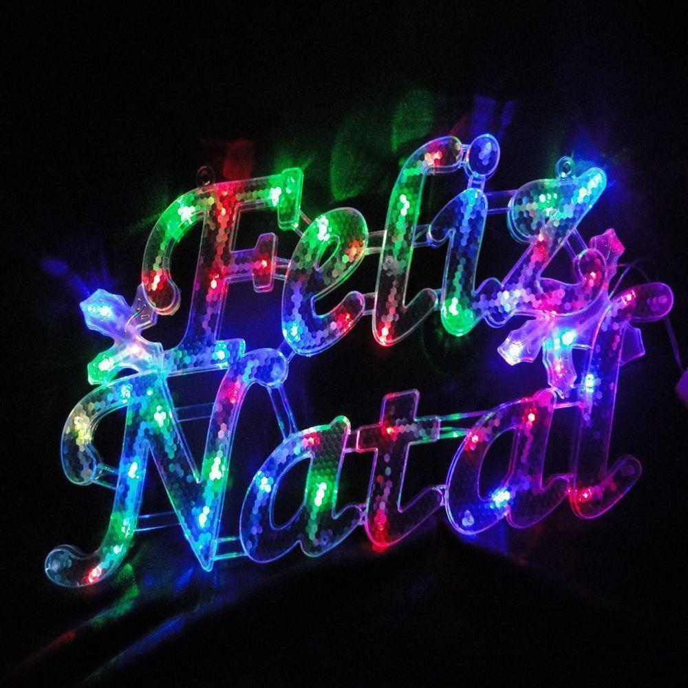 Letreiro Luminoso Decorativo 35 LEDs Feliz Natal 110v 1855