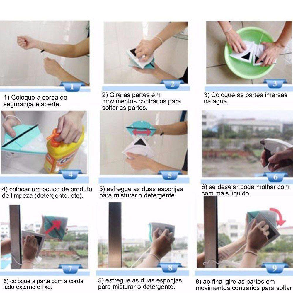 Limpador de Vidro Magnético para Janela Vidraça Aquário CBR03365