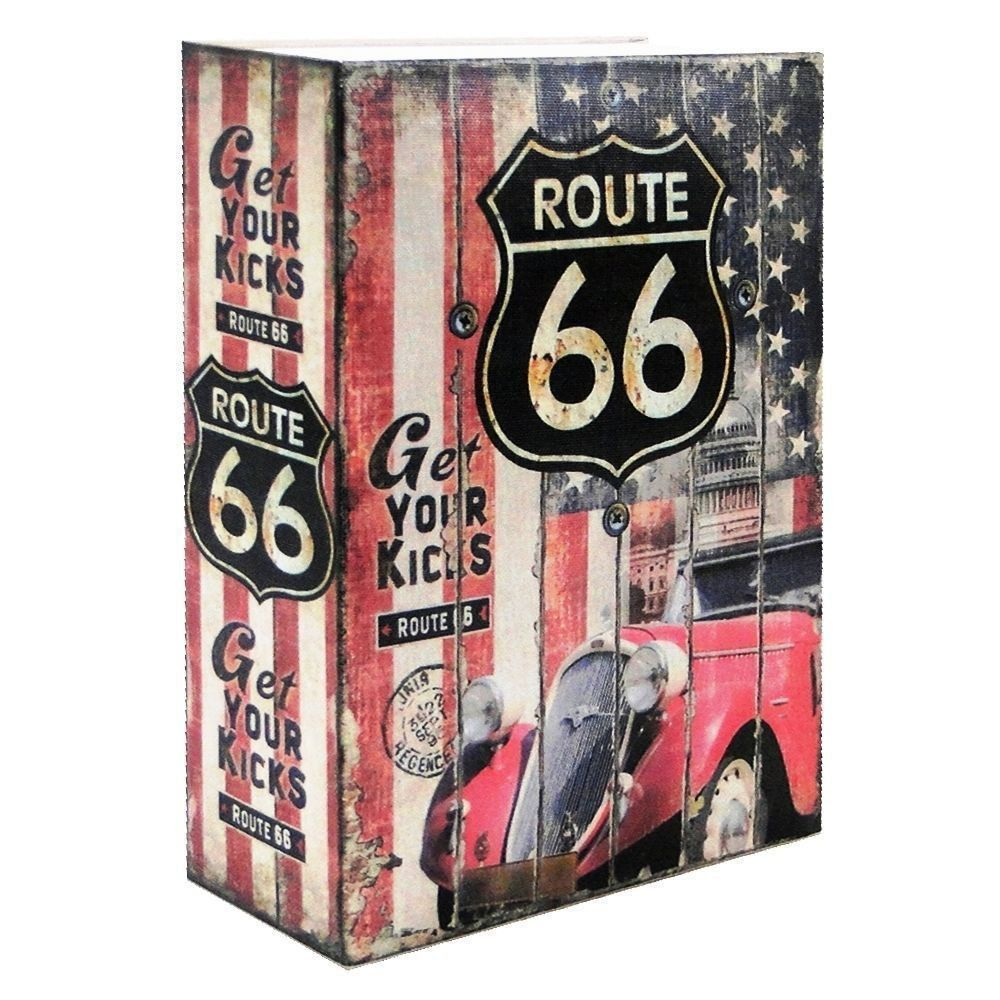 Cofre Livro Aço Book Safe 24 cm Route 66