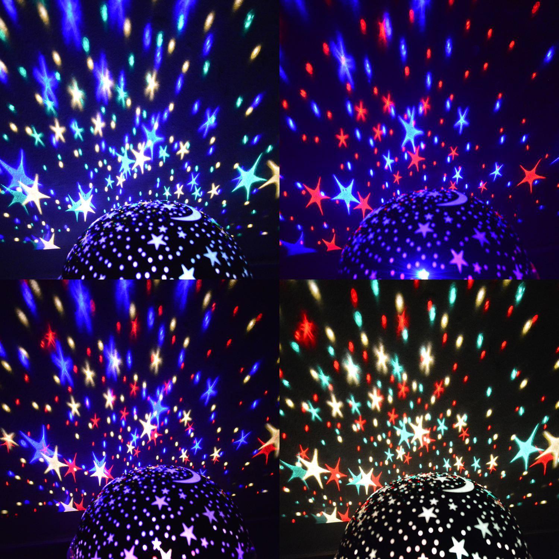 Luminária Infantil Projetor Abajur Criança Estrelas Preto CBRN10547