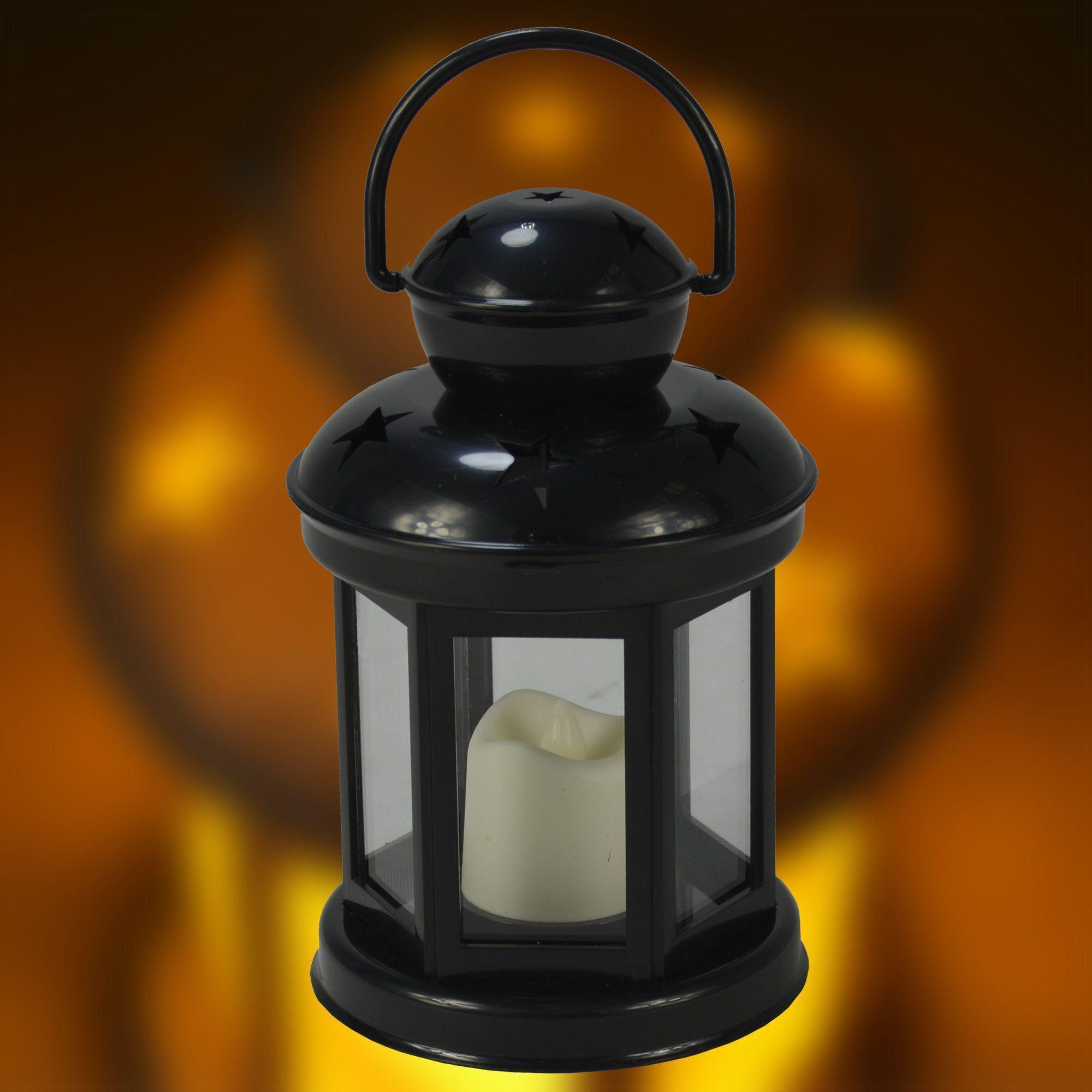 Luminária Lampião Vela LED Chamejante Preto CBRN06847