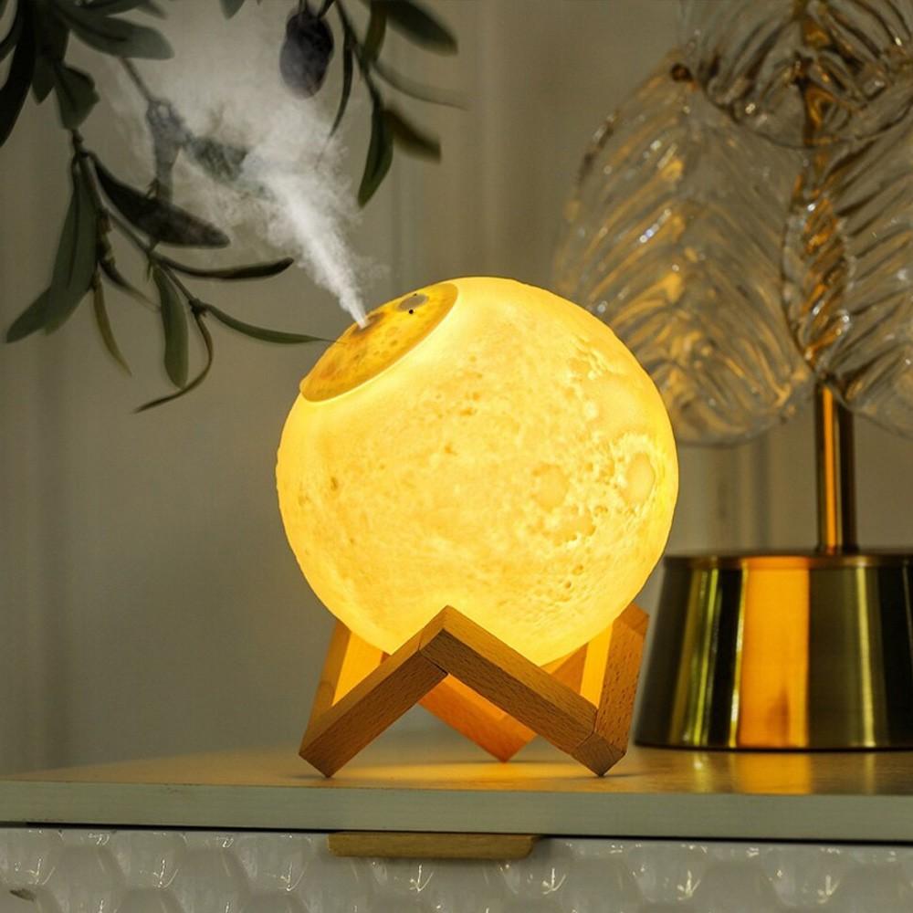 Luminária LED Lua 3D Umidificador Suporte de Madeira + Fonte CBRN15474
