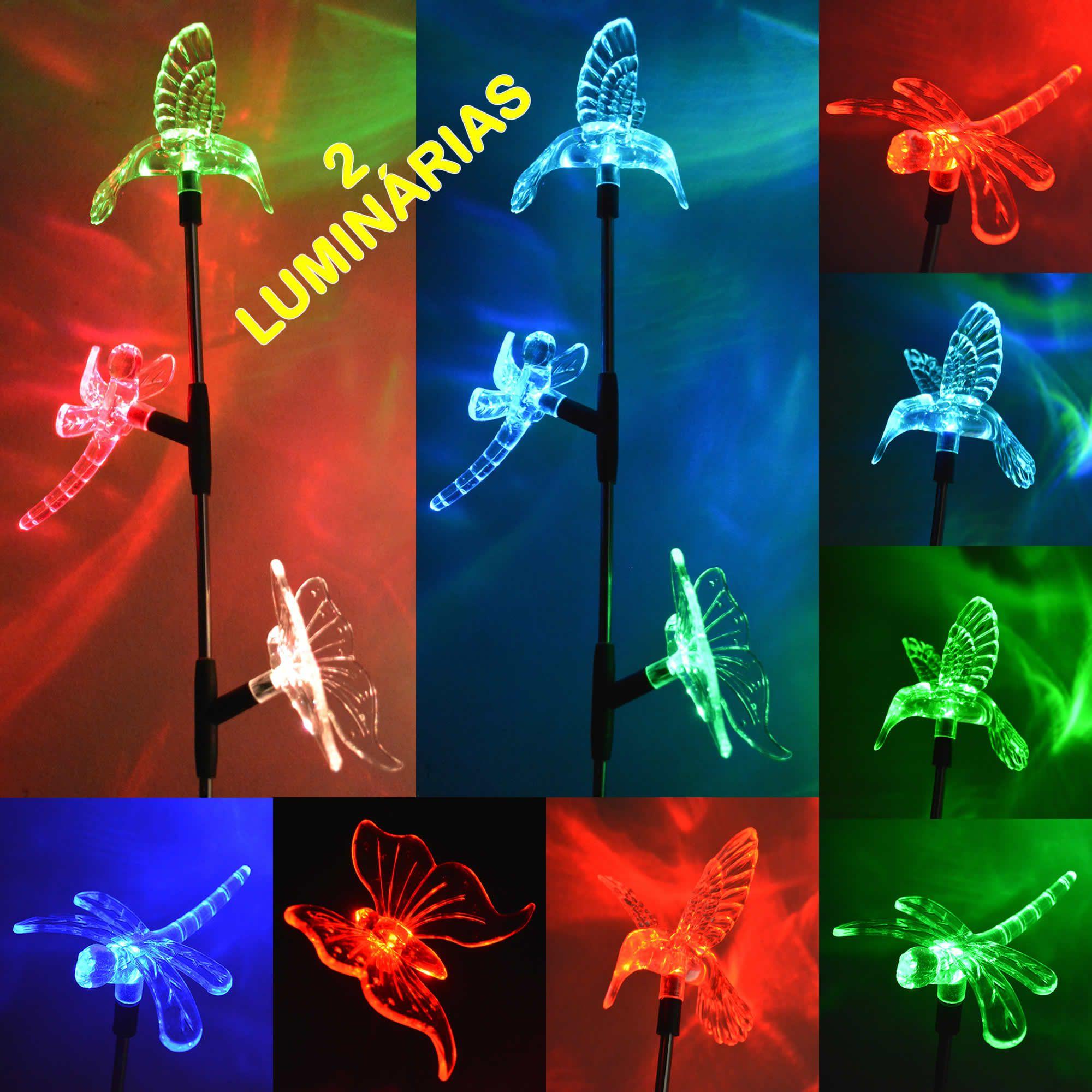 Luminária Solar Beija-flor Borboleta e Libélula 2 Peças CBRN13005