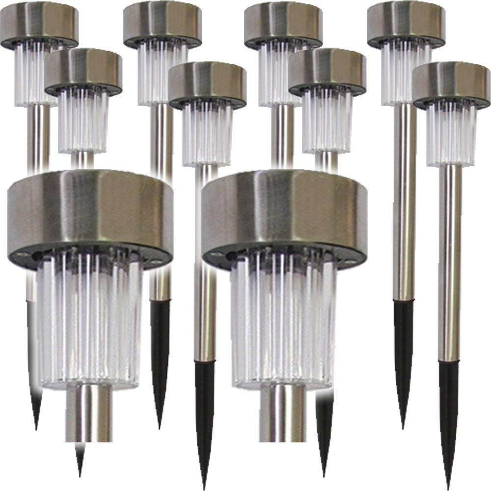 Luminária Solar Jardim 10 peças em Aço Inox 1386 CBRN03952