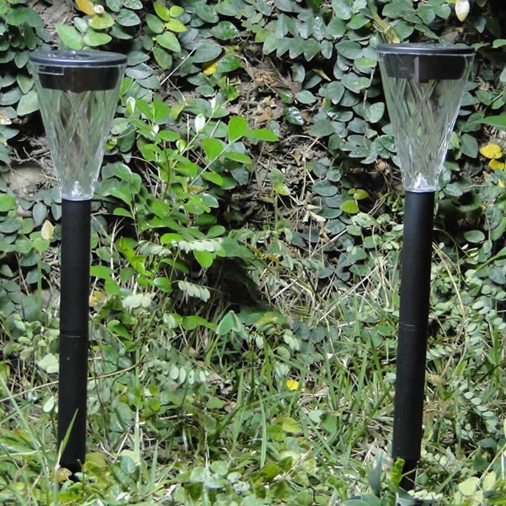 Luminária Solar Jardim 2 peças Preto PVC 1665 em Led Branco - EC23235