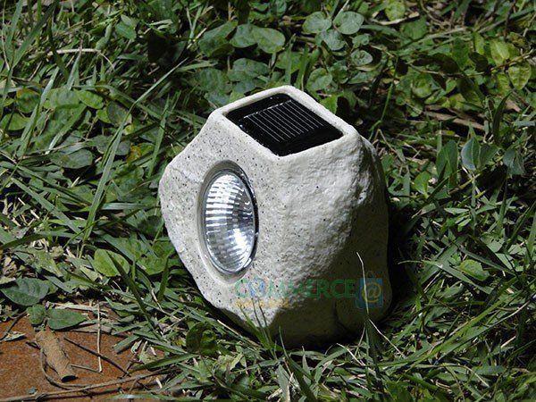 Luminária Solar Jardim Pedra Artesanal 1 peça 1 Led Mod1668 - EC32012