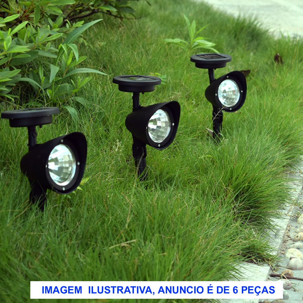 Luminária Solar Jardim PVC Rígido Spot 3 leds 6 peça CBRN13104