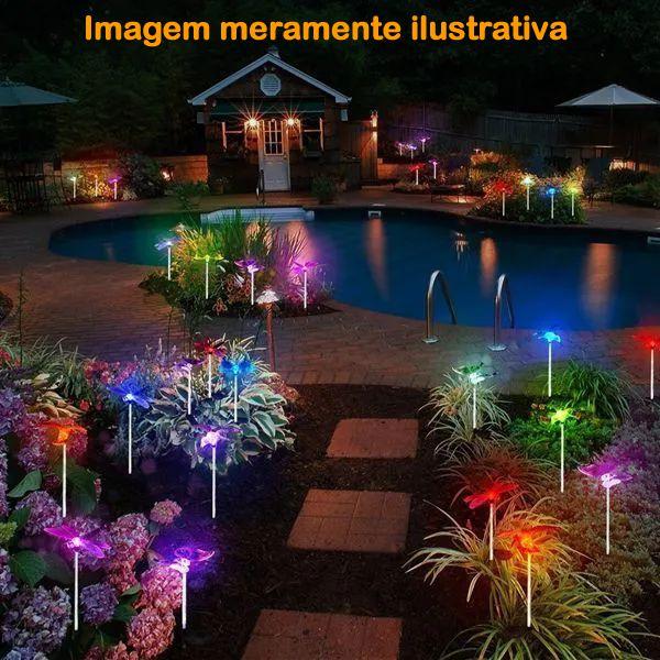 Luminária Solar para Jardim Borboleta 2 Peças CBRN12954