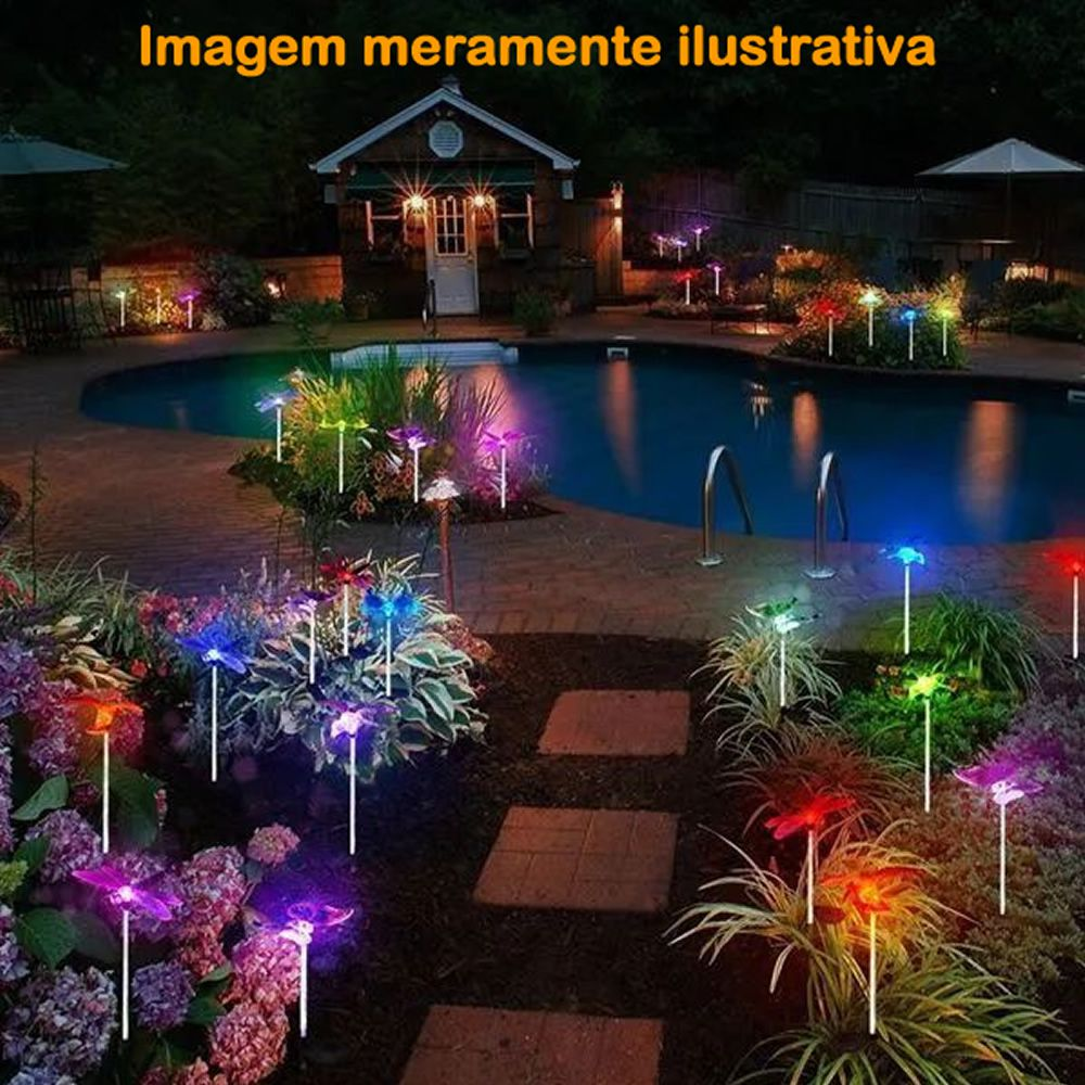 Luminária Solar para Jardim em PVC Abelha 1381 2 Peças