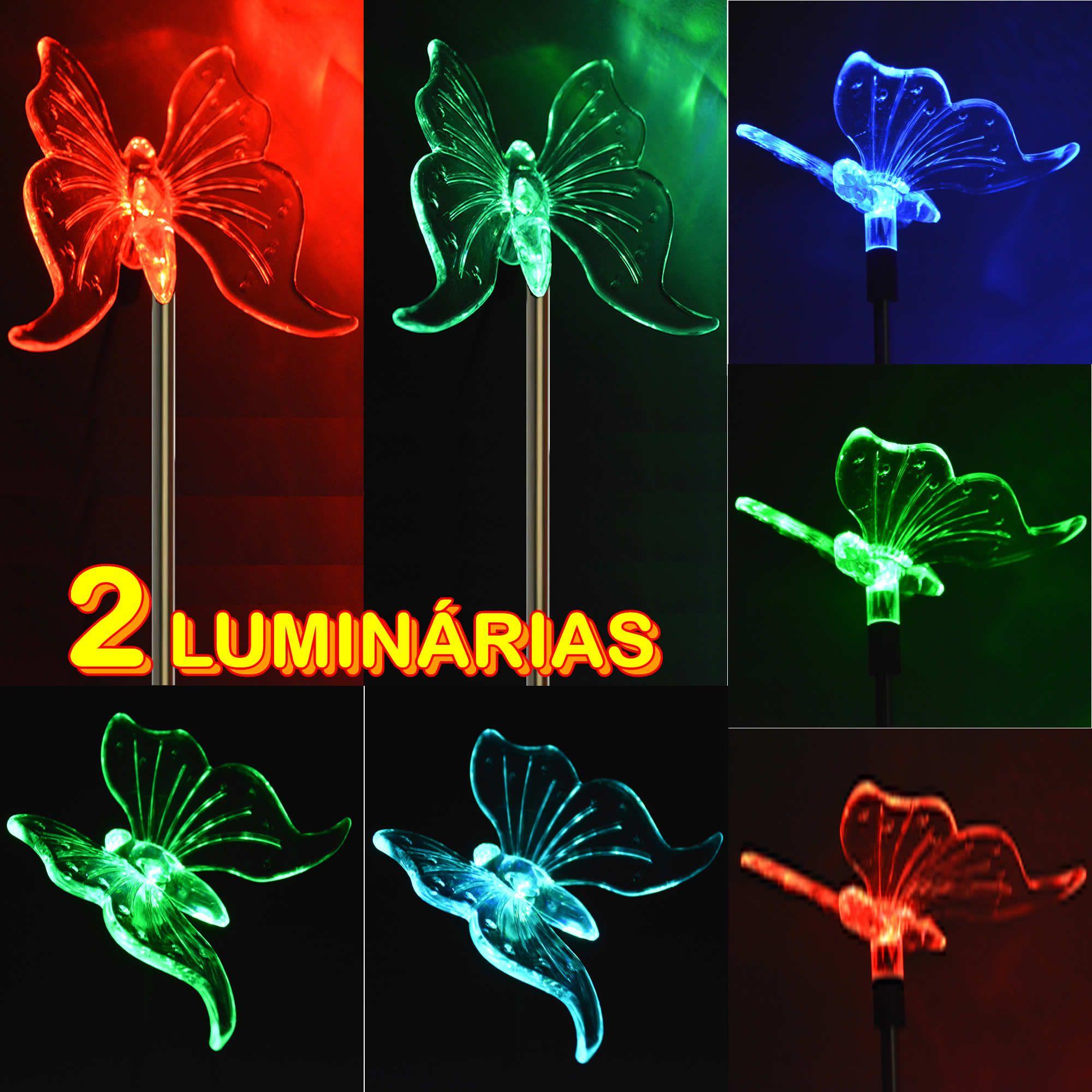 Luminária Solar para Jardim Borboleta 1379 2 Peças