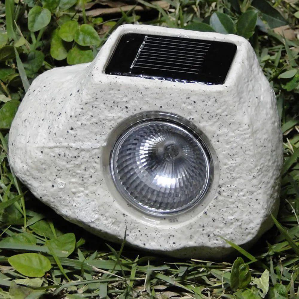 Luminária Solar Para Jardim Pedra 2 peças CBRN13203