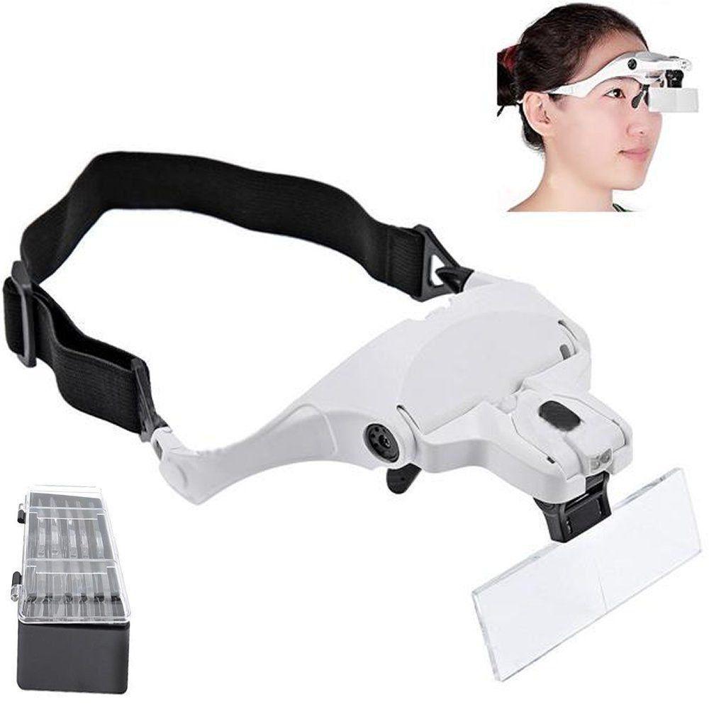 Lupa de Cabeça Profissional 2 LEDS 5 lentes aumento BRANCO CBRN01385