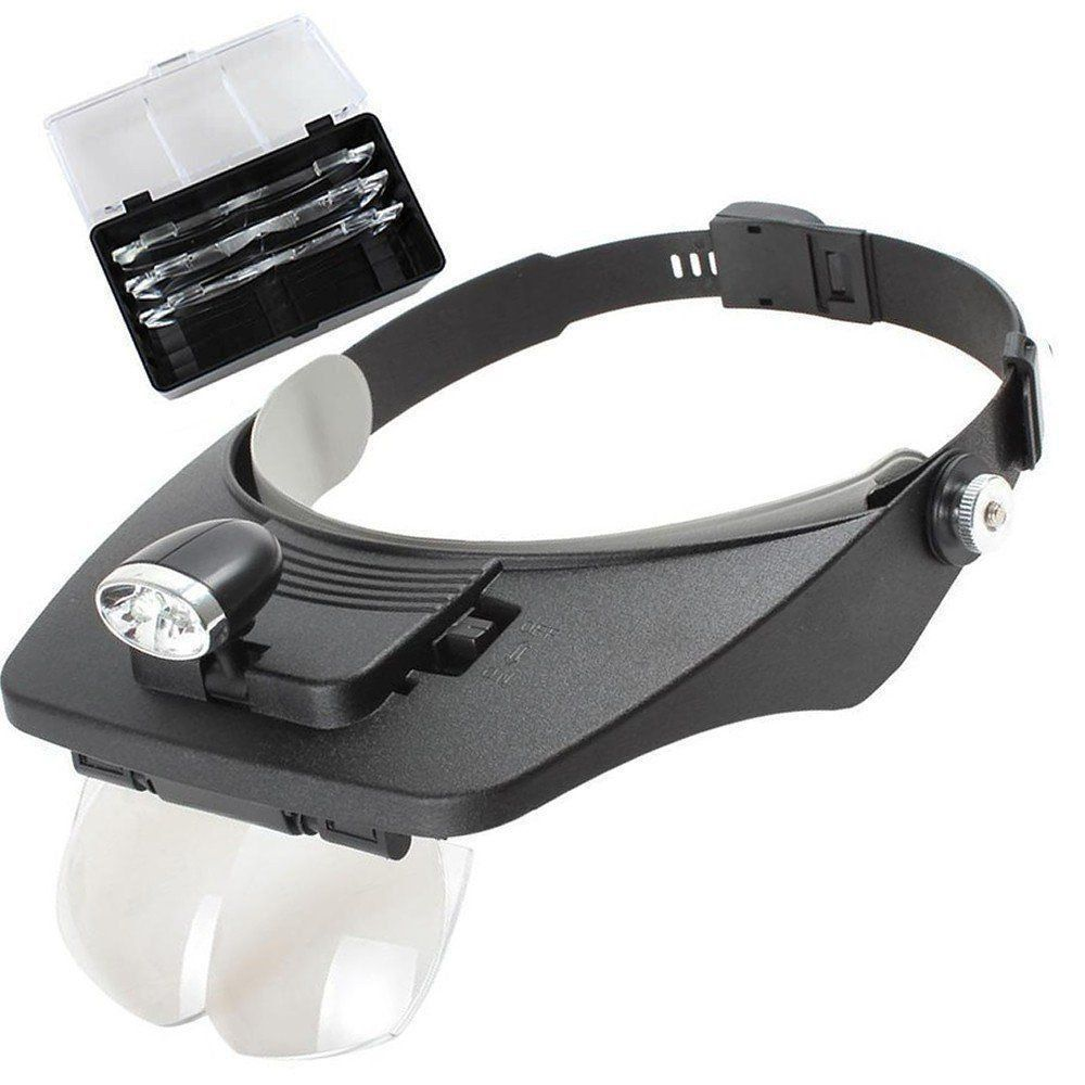 Lupa para cabeça profissional jogo 4 lentes 2 leds CBR03600