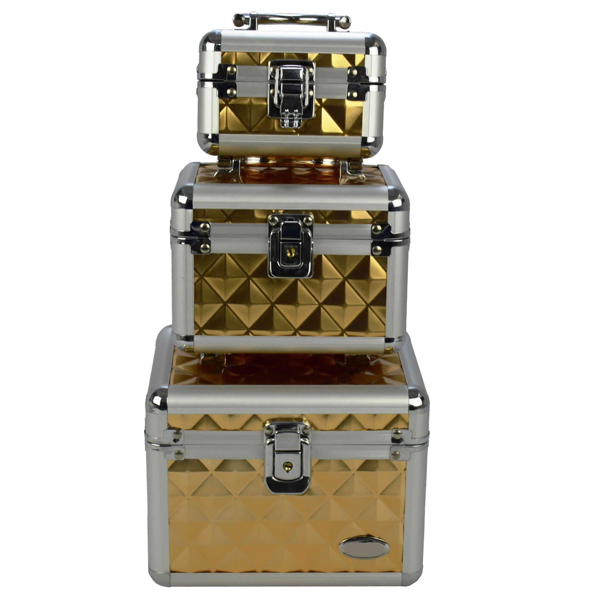 Maleta Frasqueira Maquiagem e Jóias kit 3 peças dourado CBRN04676