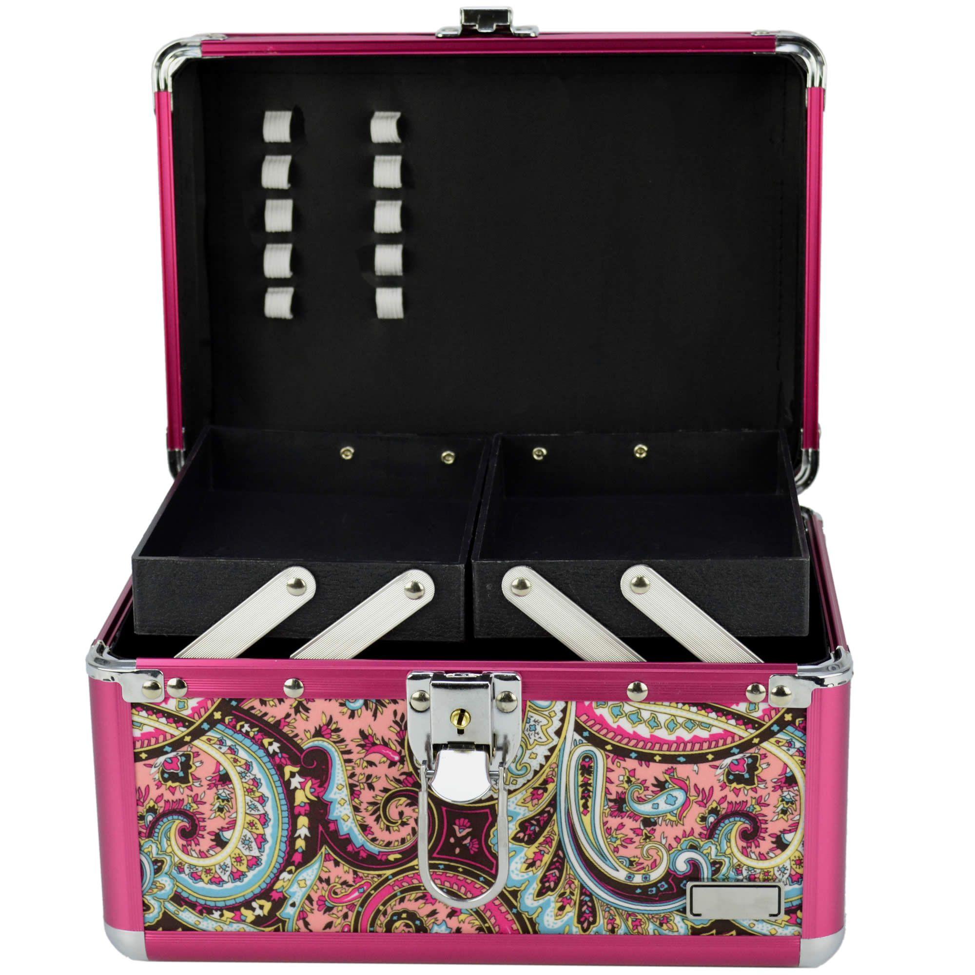 Maleta Para Maquiagem e Joias Frasqueira Mandala Indiana Pink CBRN12589