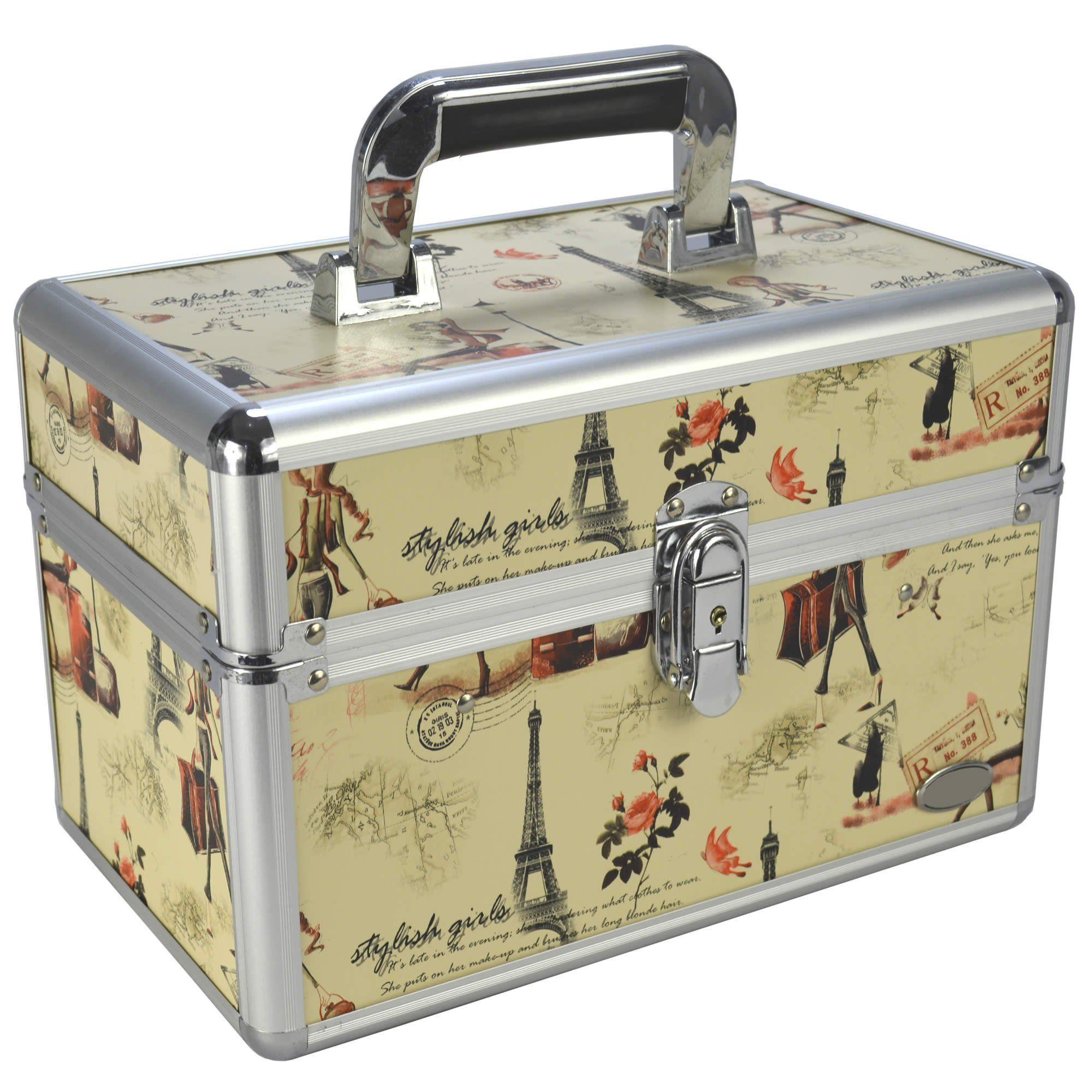 Maleta para Maquiagem e Jóias Frasqueira Paris Creme CBRN06359