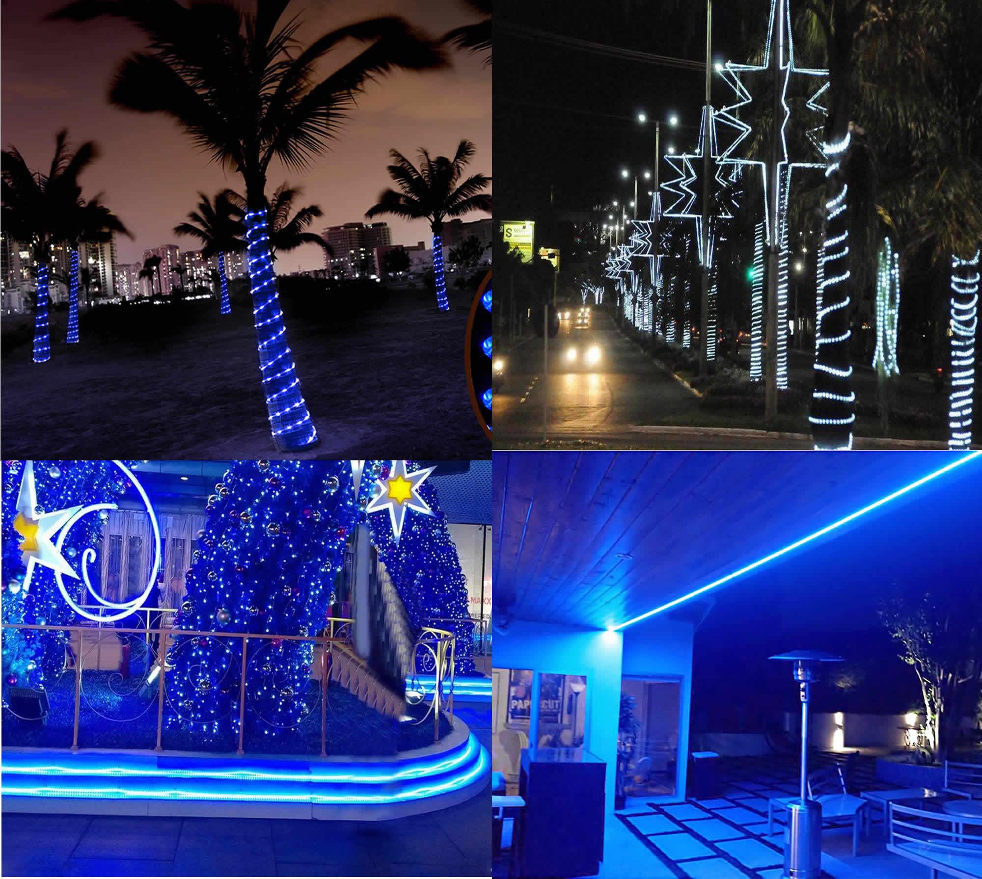 Mangueira Luminosa LED Azul Corda Natal Pisca Rolo 100mt 110v - 1091