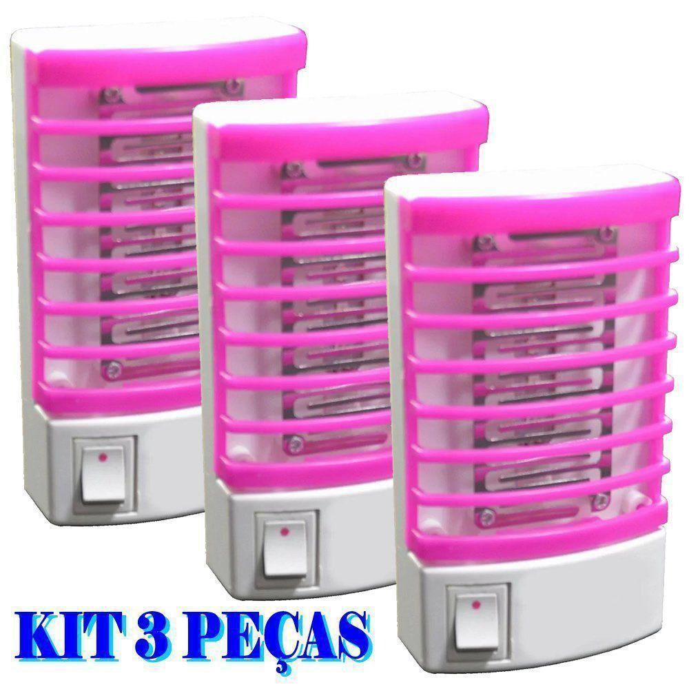 Mata mosquito e pernilongo LED UV kit 3 peças ROSA CBRN08612