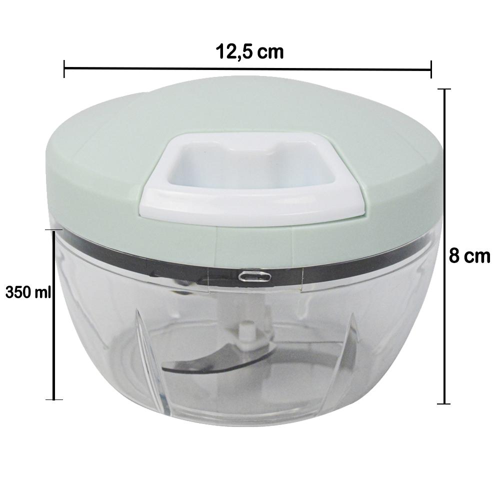 Mini Processador e Triturador de Alimentos Manual 3 Lâminas Verde + Gancho Parede CBRN17881