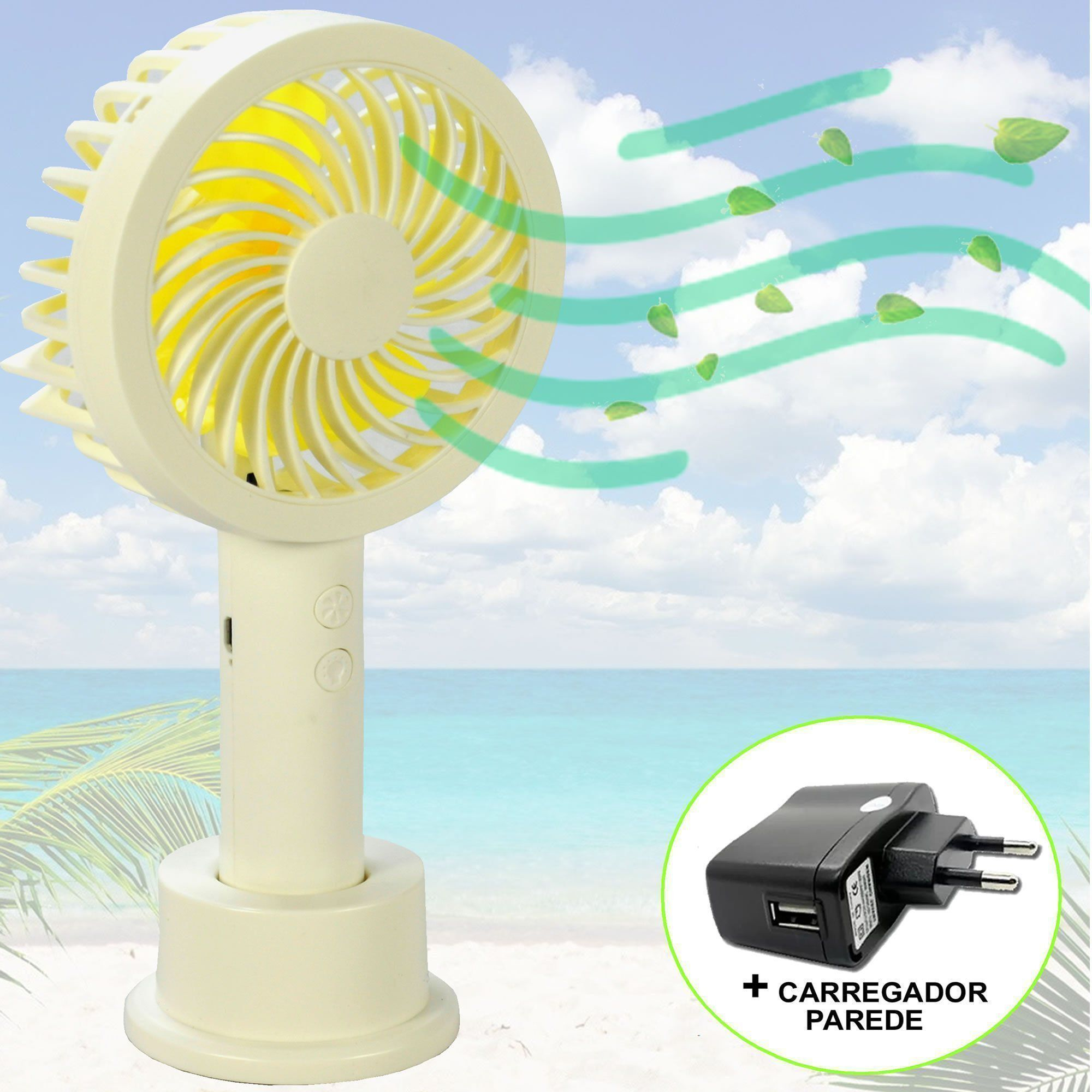 Mini Ventilador Portátil Recarregável + adaptador Amarelo CBRN07271