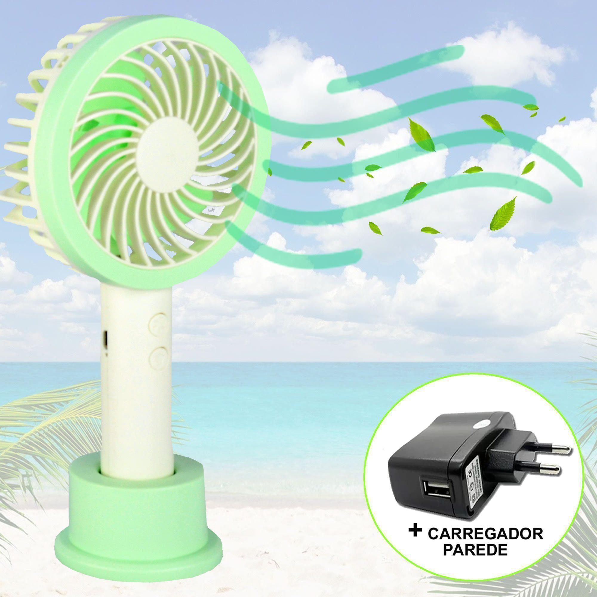 Mini Ventilador Portátil Recarregável + adaptador Verde CBRN07301