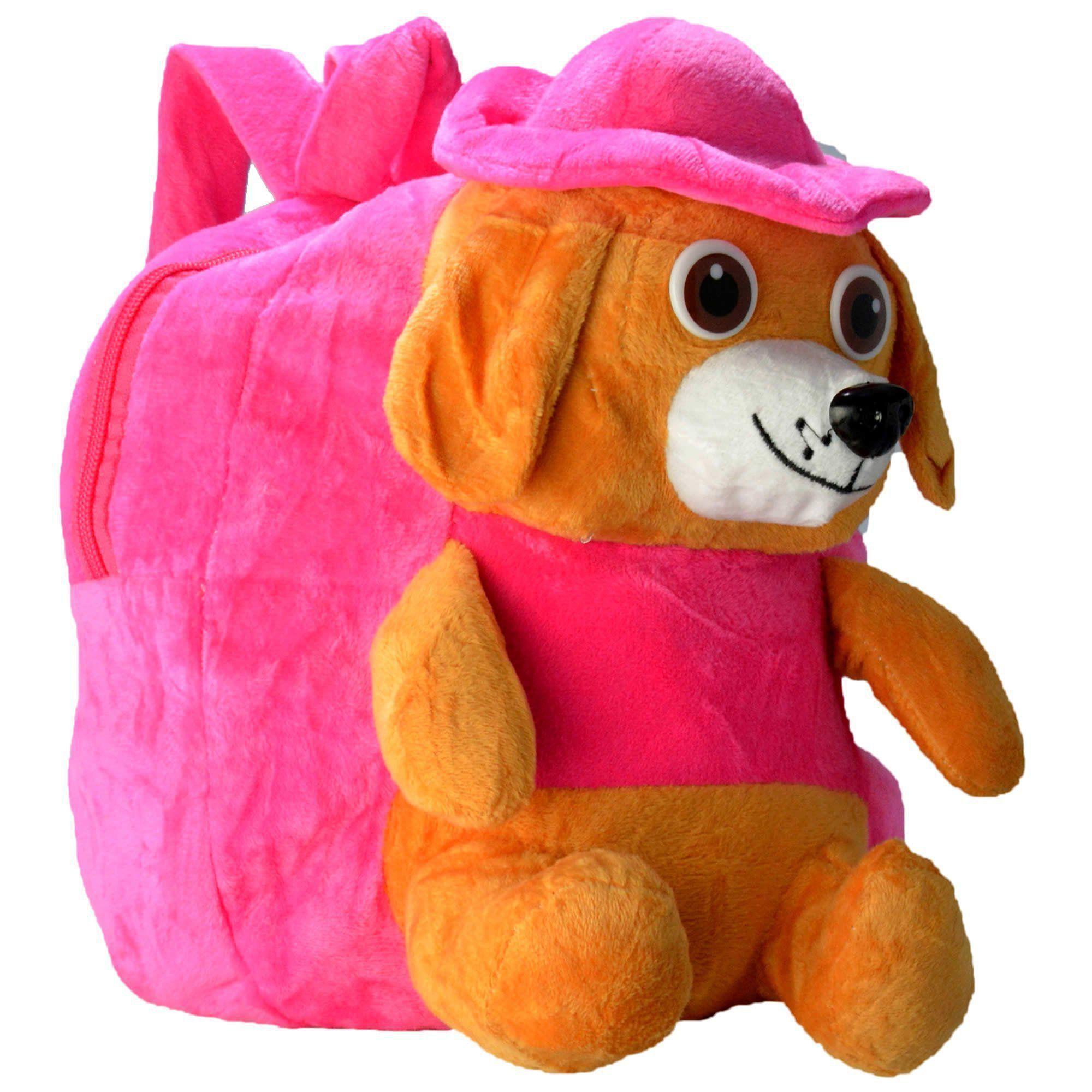 Mochila infantil Pelucia 3D cachorro chapéu pink CBRN07424