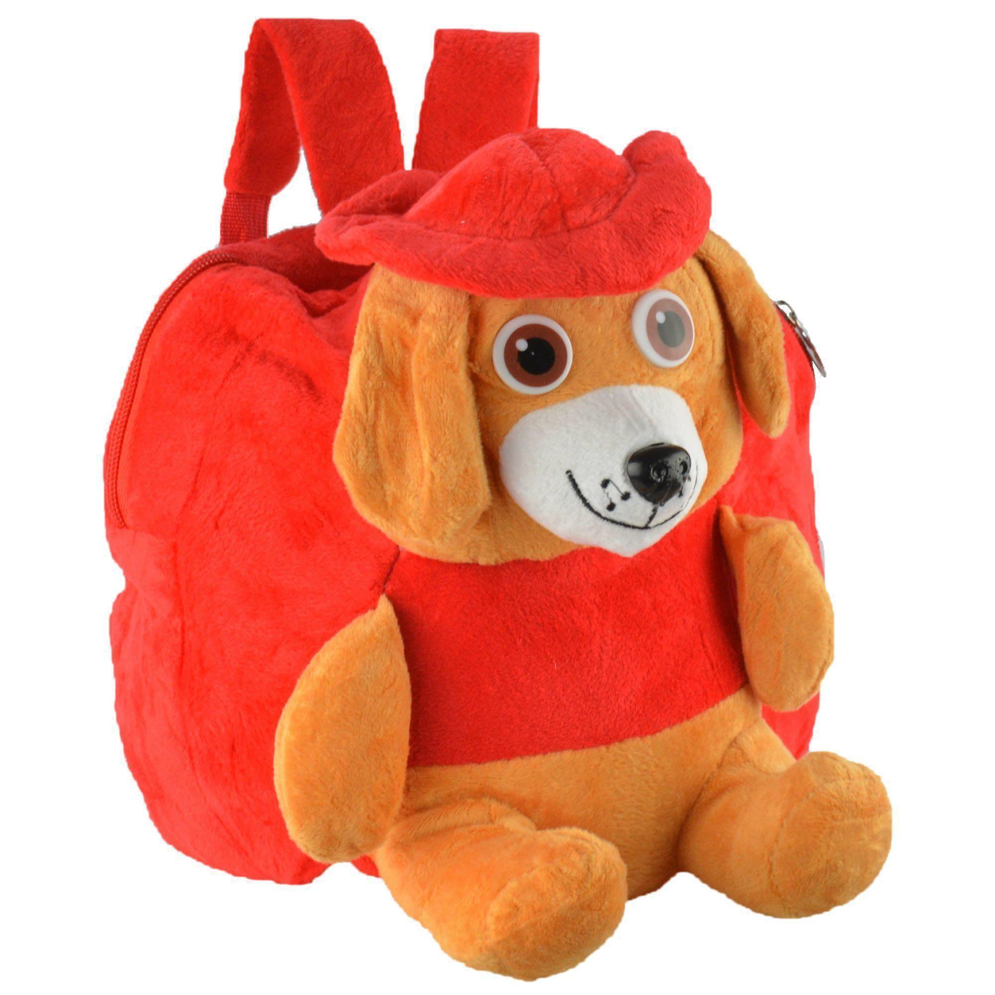 Mochila infantil Pelucia 3D cachorro chapéu vermelho CBRN07431