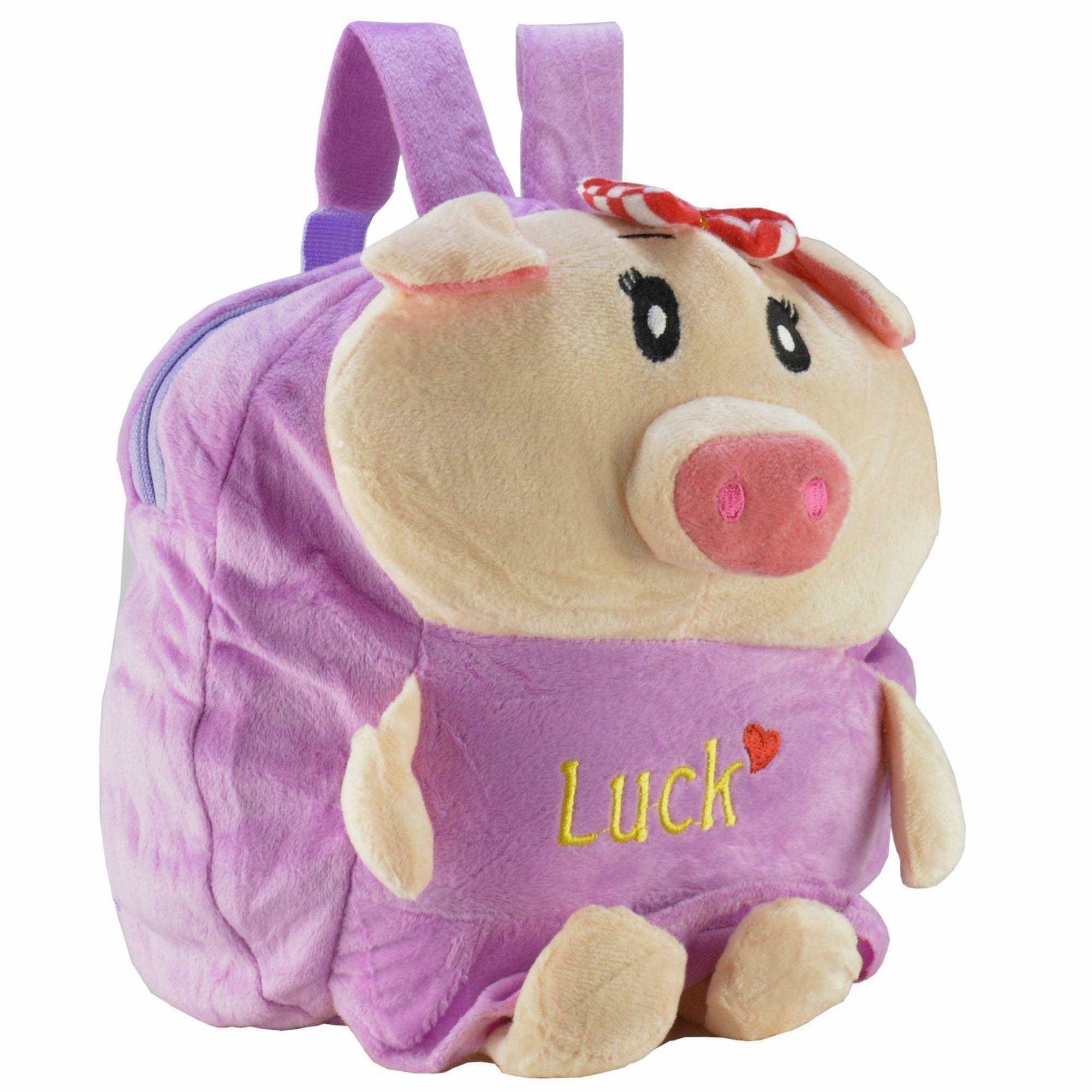 Mochila infantil Pelucia 3D porquinho roxo CBRN07677