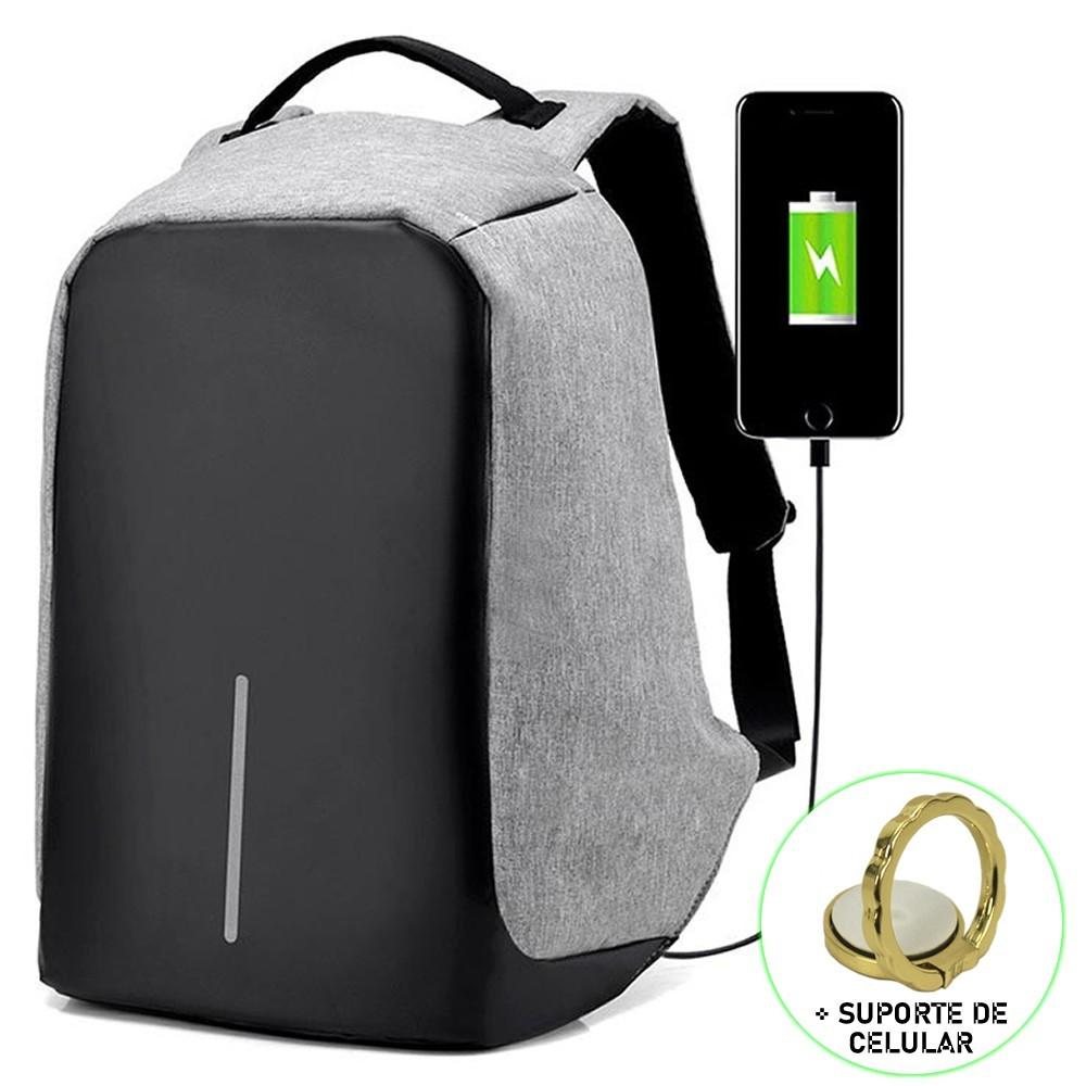 Mochila Para Notebook Antifurto Conforto + Suporte Celular CINZA CBRN13869