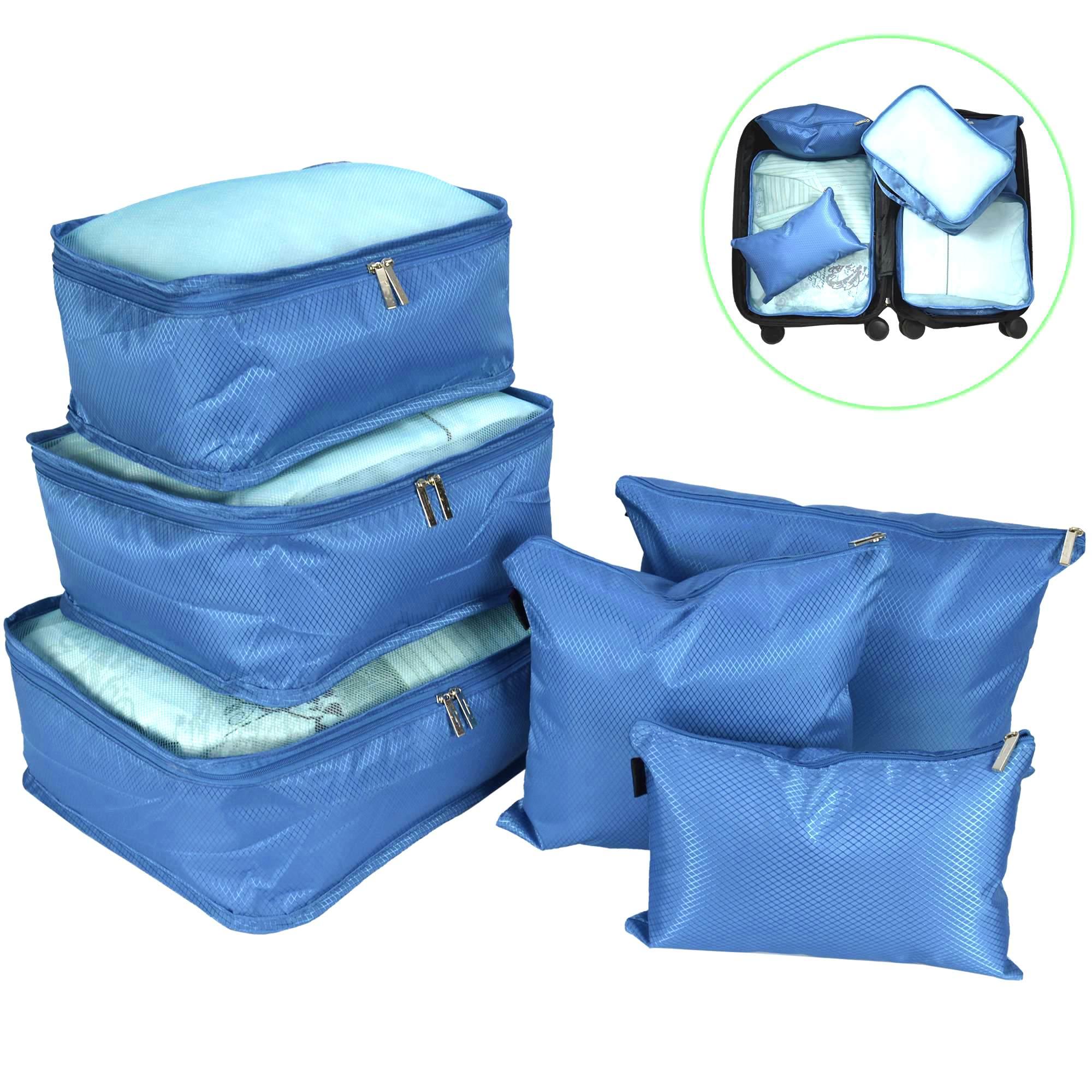 Organizador de Mala Viagem Necessaire Kit 6 Peças Azul Claro CBRN12725