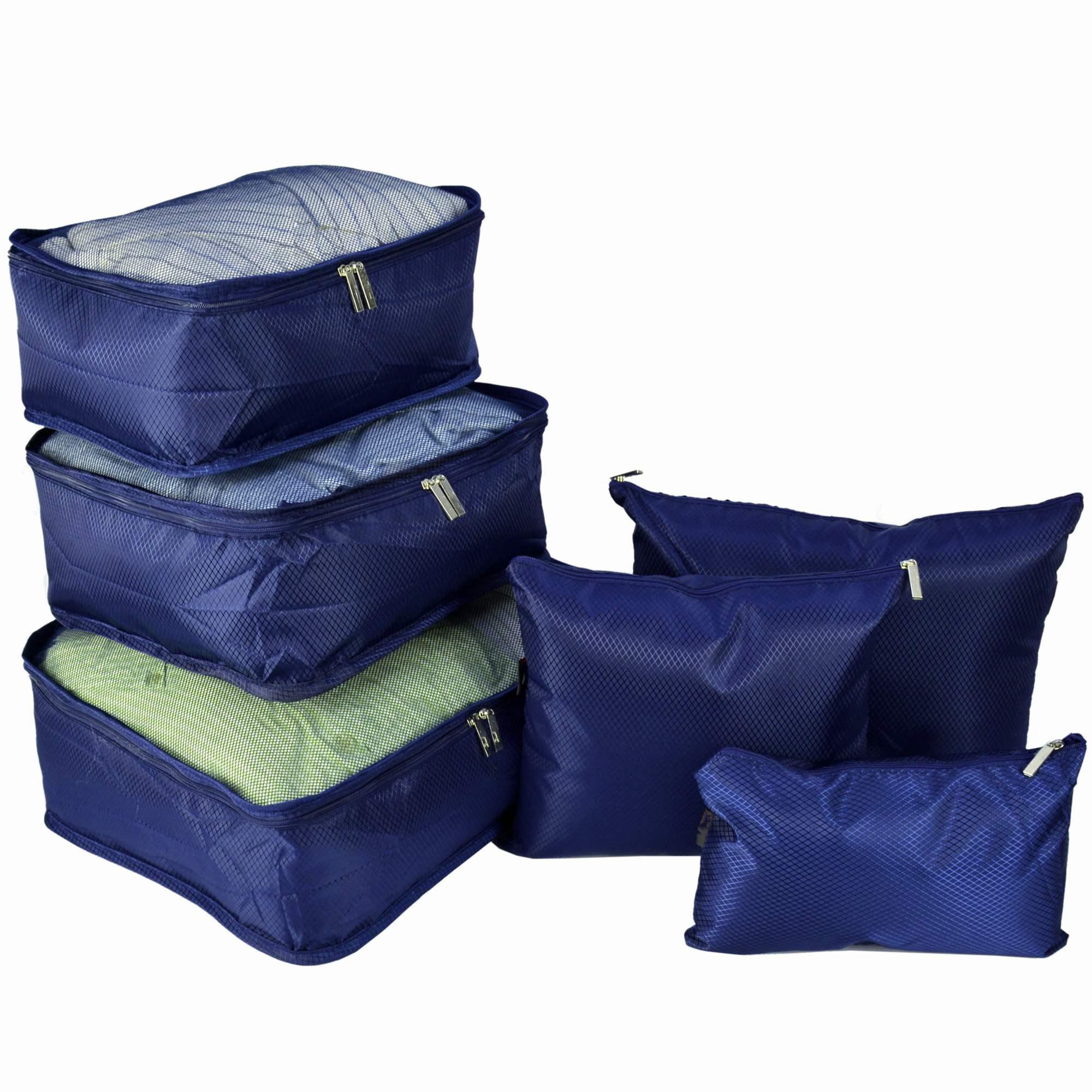 Organizador de Mala Viagem Necessaire Kit 6 Peças Azul Marinho CBRN12732
